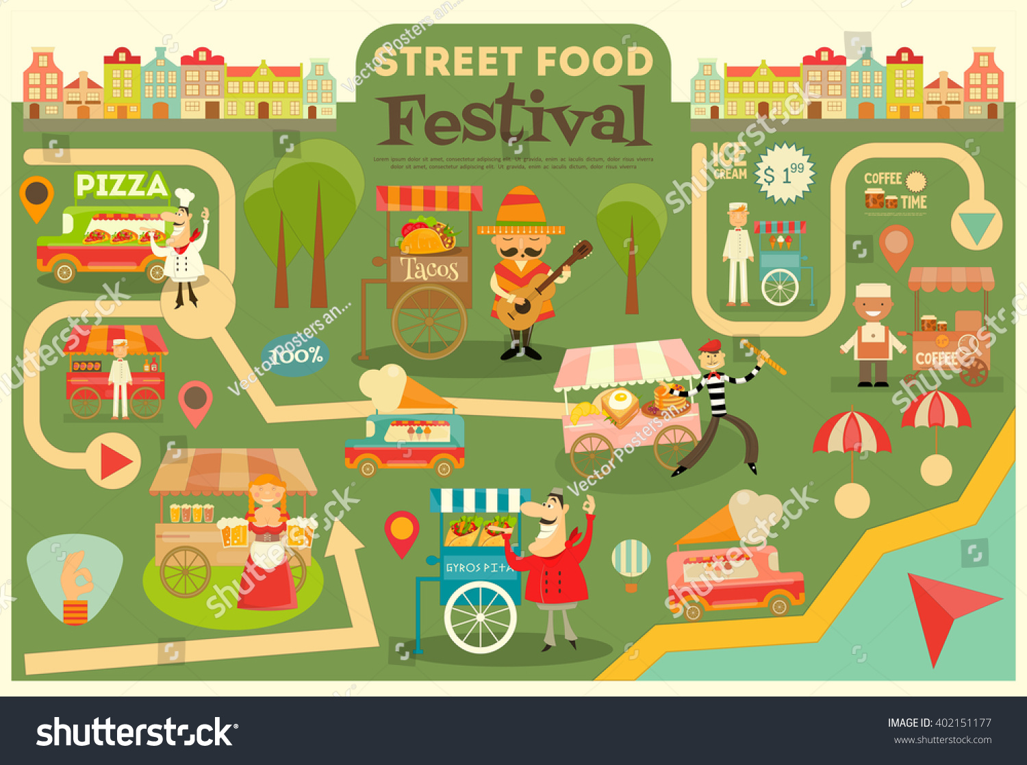 street food festival on city map stock vector 402151177 vintage arrow vector free download arrow vintage illustration vector