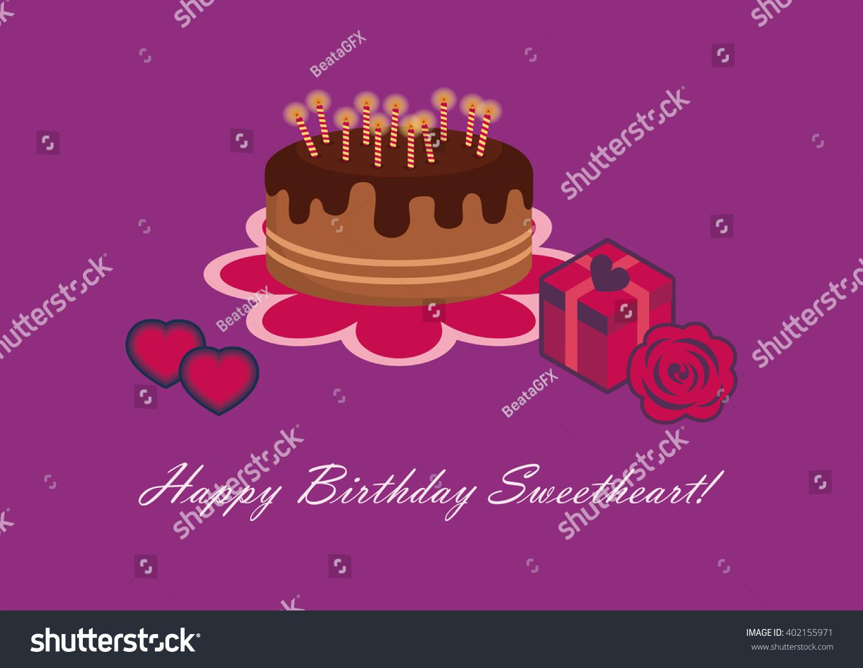 Birthday Card Sweetheart Happy Birthday Sweetheart Stock Vector