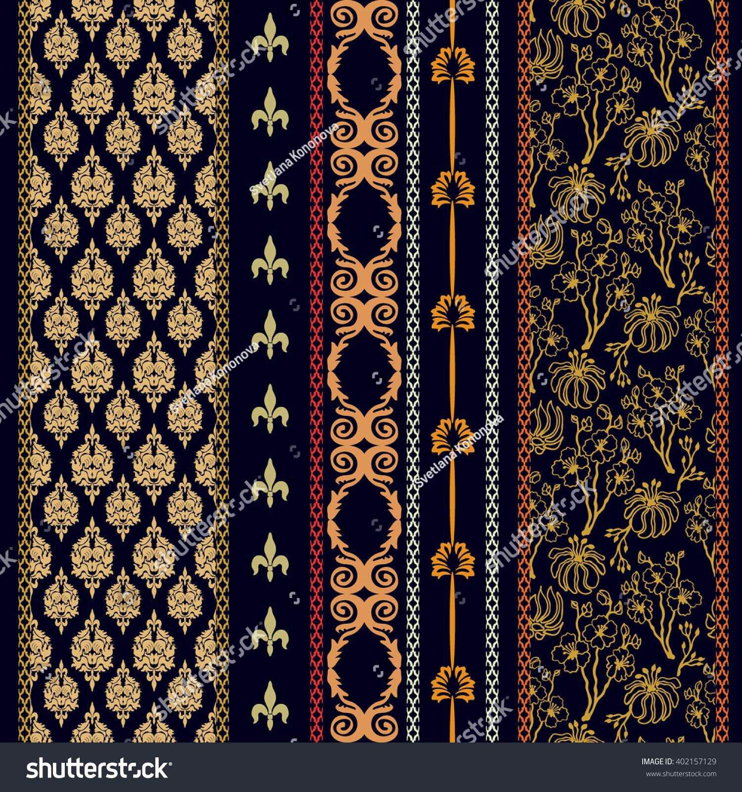 set classical damask borders bohemian motifs stock vector. Black Bedroom Furniture Sets. Home Design Ideas
