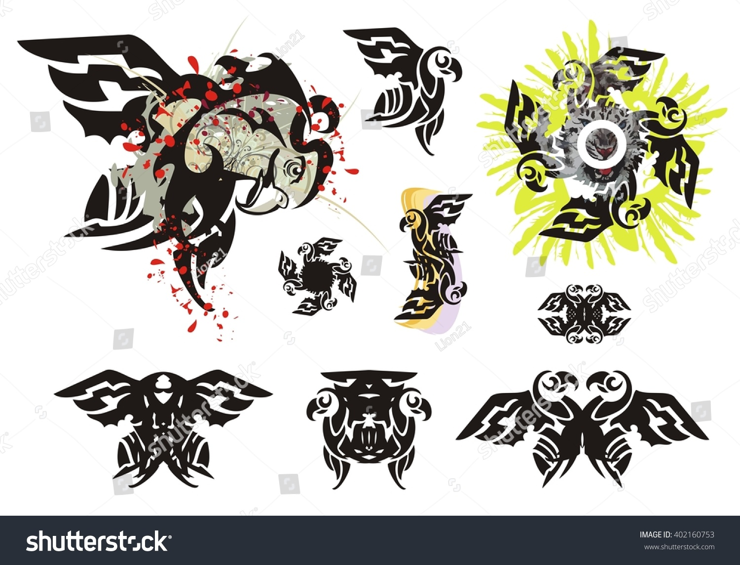 Eagle symbols tribal style grunge eagle stock vector for Blood drop tattoo