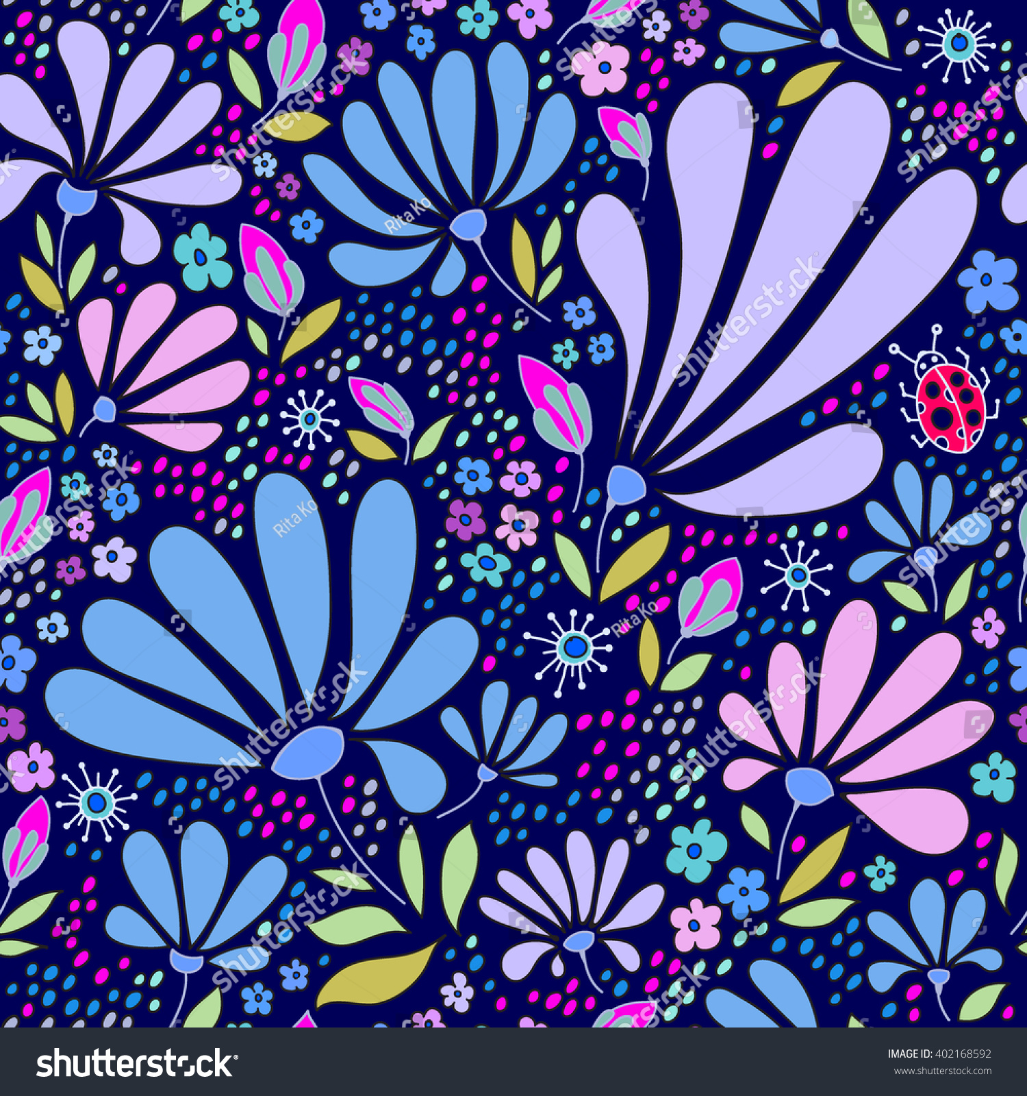 Floral Seamless Pattern Herbal Form Flowers Stockvector Rechtenvrij