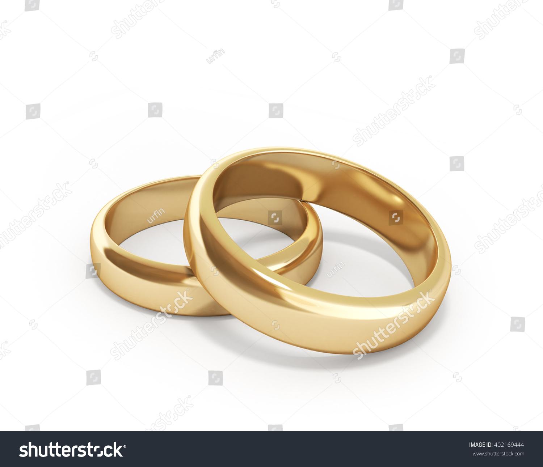 3d Render Golden Rings Isolated On Stock Illustration 402169444 ...