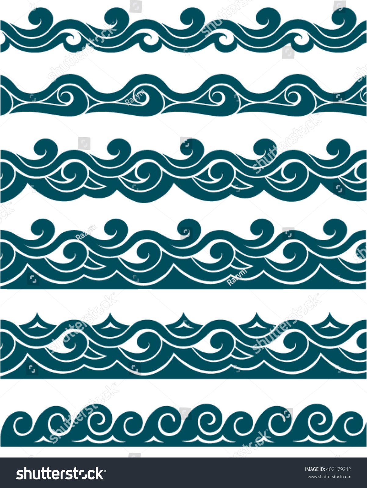 Marine Band Watercolor Wave Crest Seamless Pattern Ez Canvas