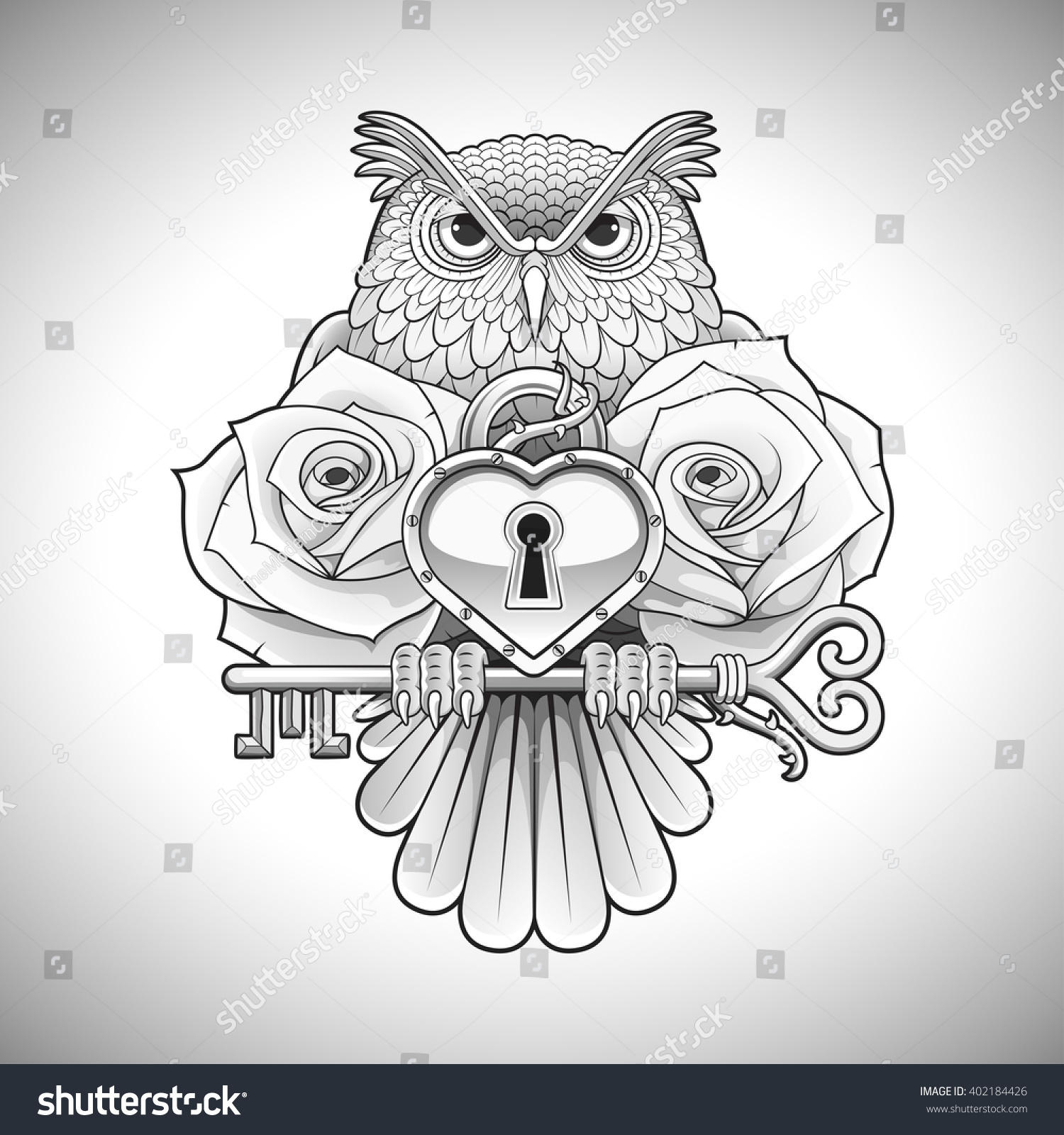 Owl Line Drawing Tattoo : Beautiful line drawing tattoo design owl stock vector