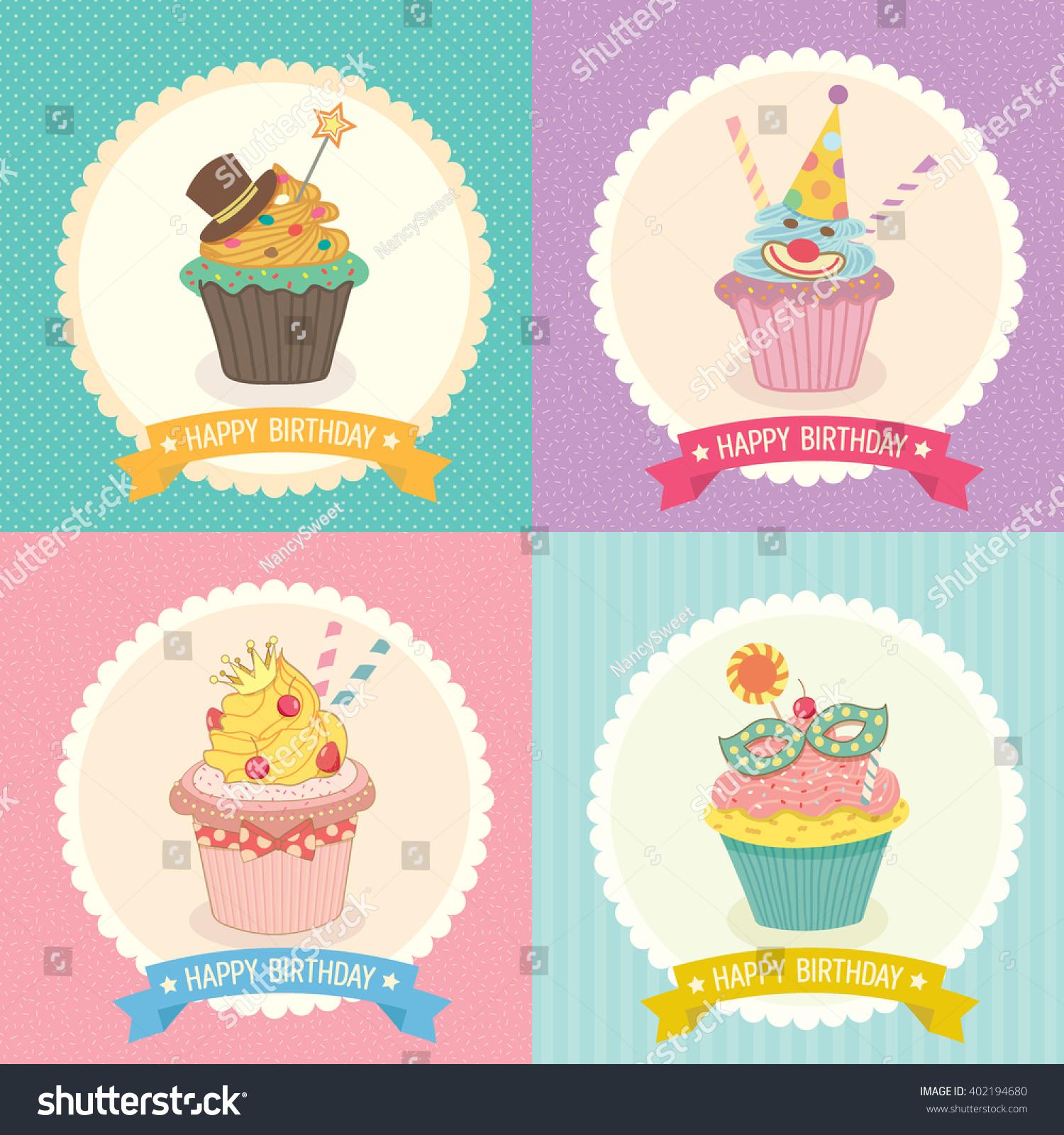 Vector Collection Fantasy Cupcake Background Ribbon Stock Vector ...