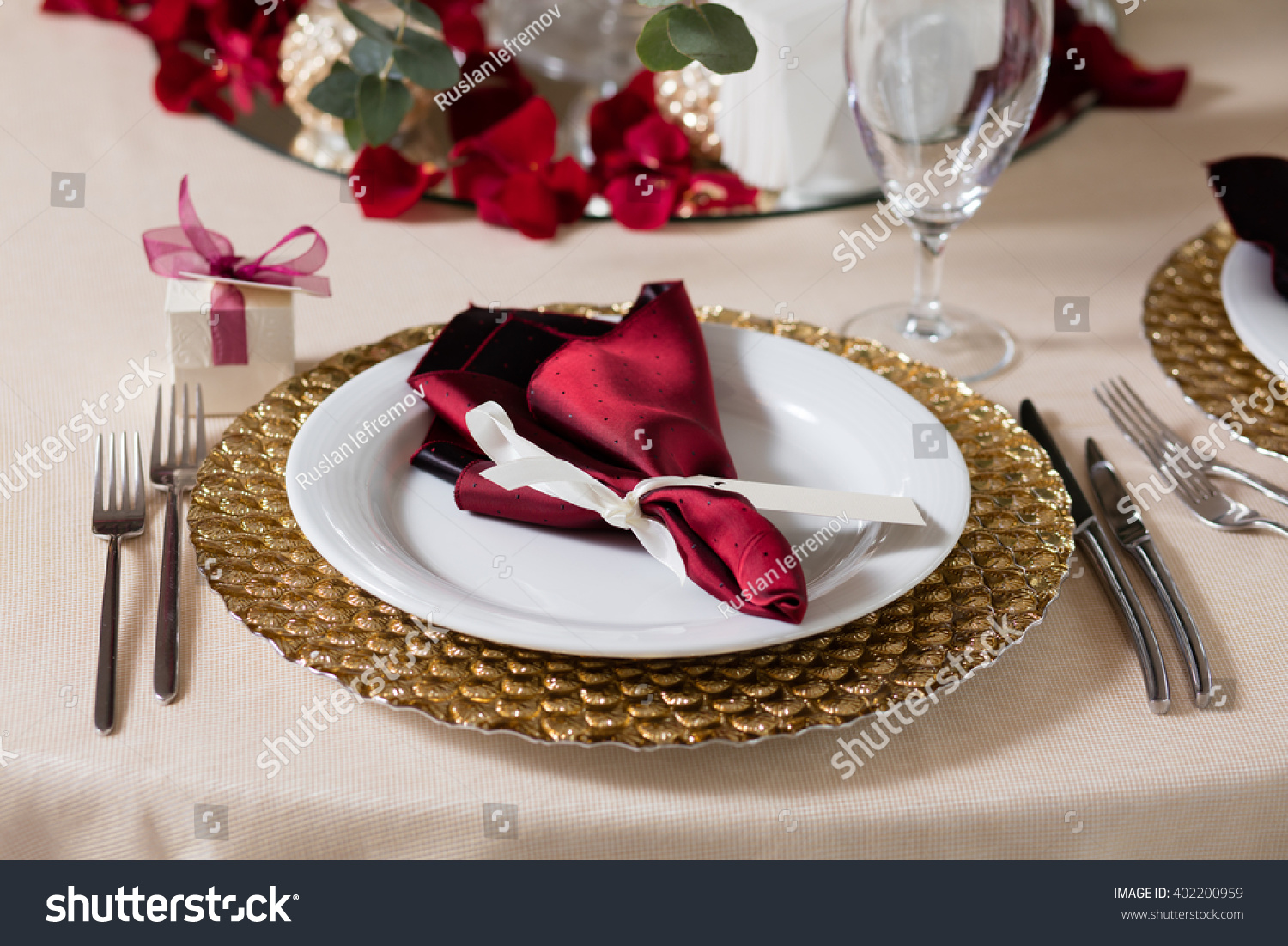 Served Table Napkins Cards Glasses Wedding Stock Photo Edit Now 402200959