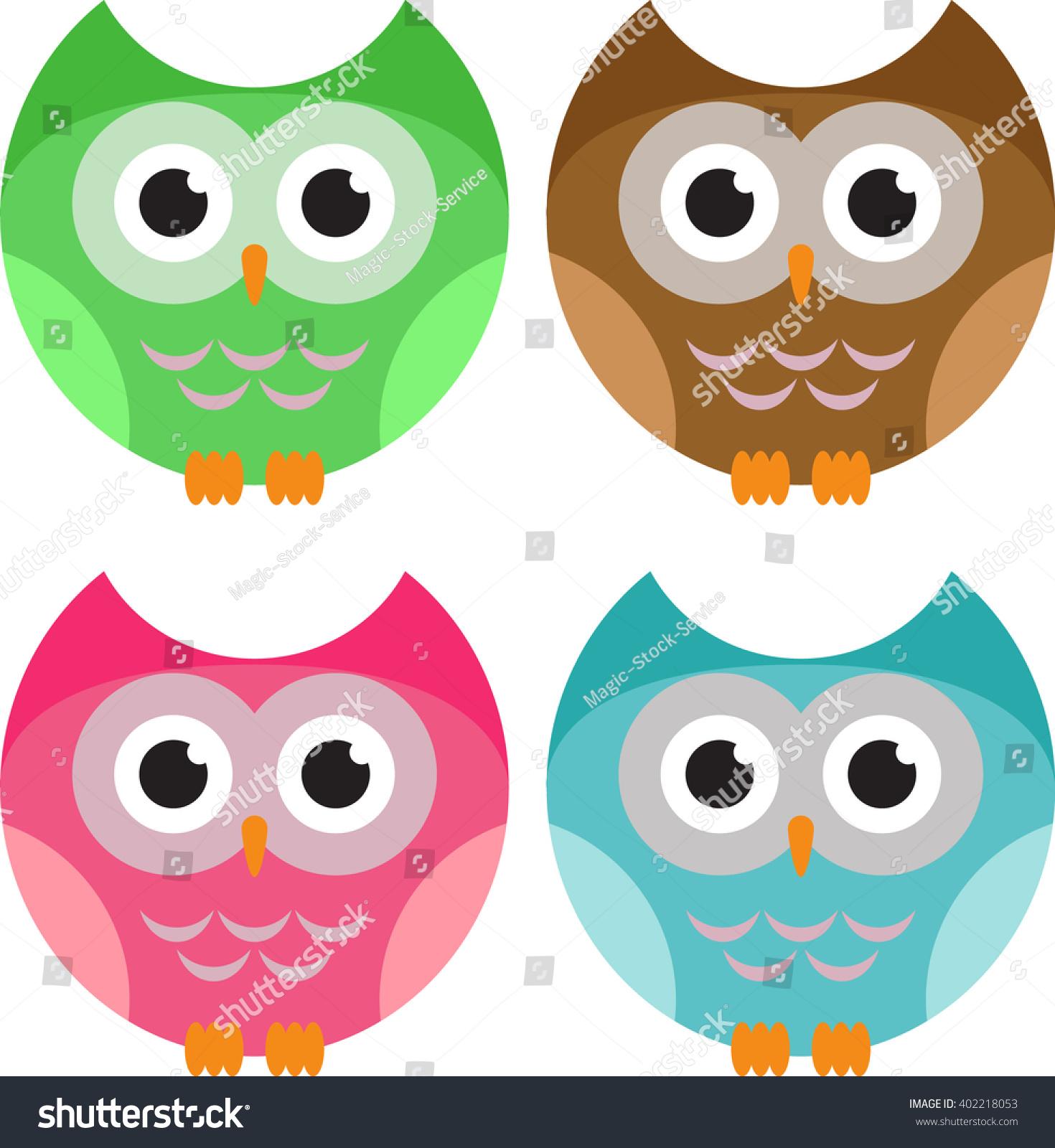 Colours Spec Q A Etc Etc: Set Funny Owls Vector Illustrations Color Stock Vector