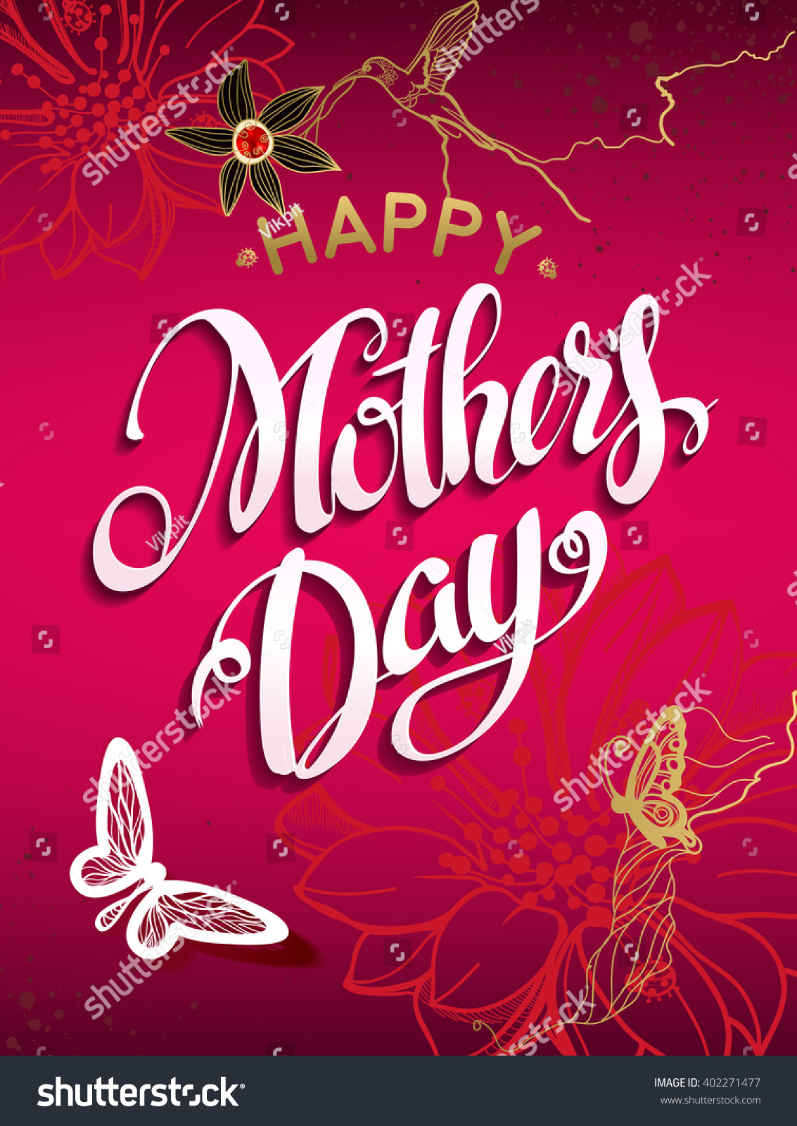 Happy Mothers Day Letteringtypographical Design Isolate Stock Vector