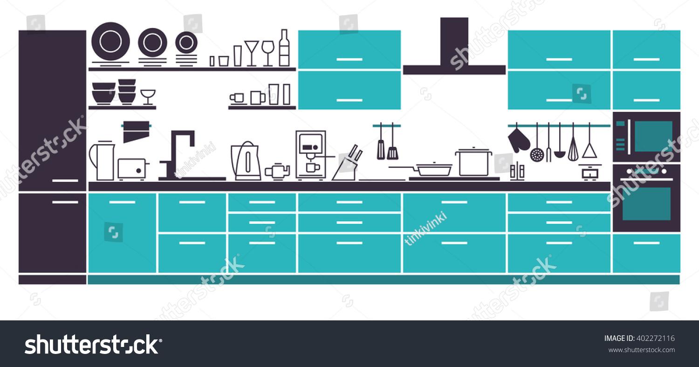 Modern Kitchen Interior Furniture Layout Vector Stock Vector