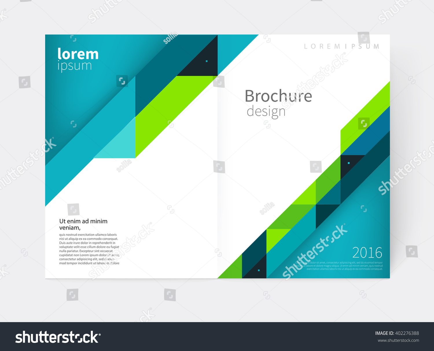 royalty cover design brochure flyer annual  brochure flyer annual report cover template a3 size modern geometric abstract background blue green diagonal lines vector stock illustration eps 10