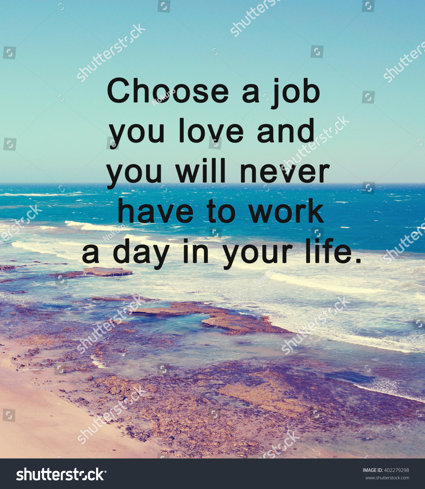 Motivational Life Quotes Of The Day Inspirational Life Quote Phrase Choose Job Stock Photo 402279298