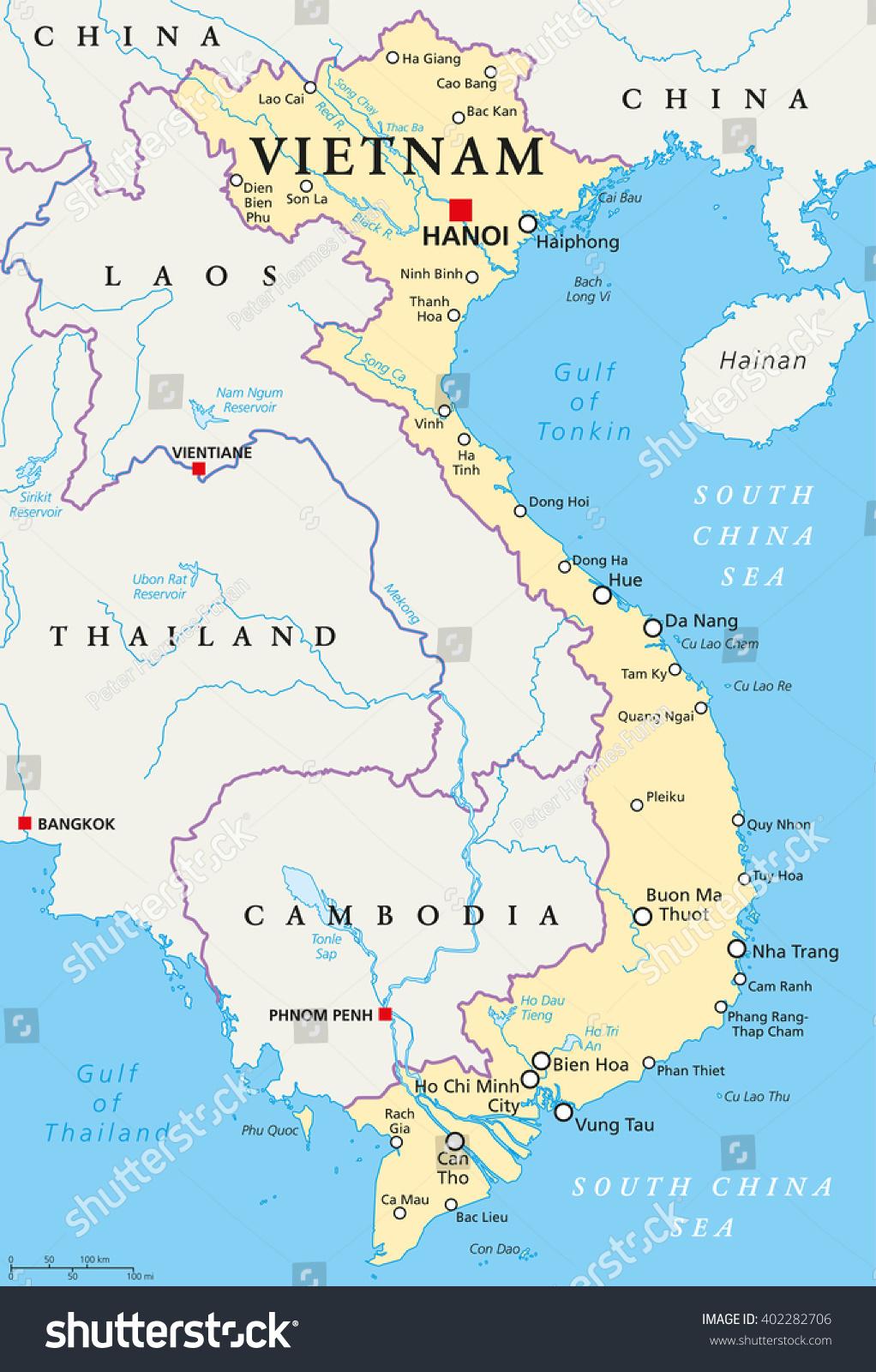 Vietnam Politisk Kort Med Hovedstaden Hanoi Lagervektor