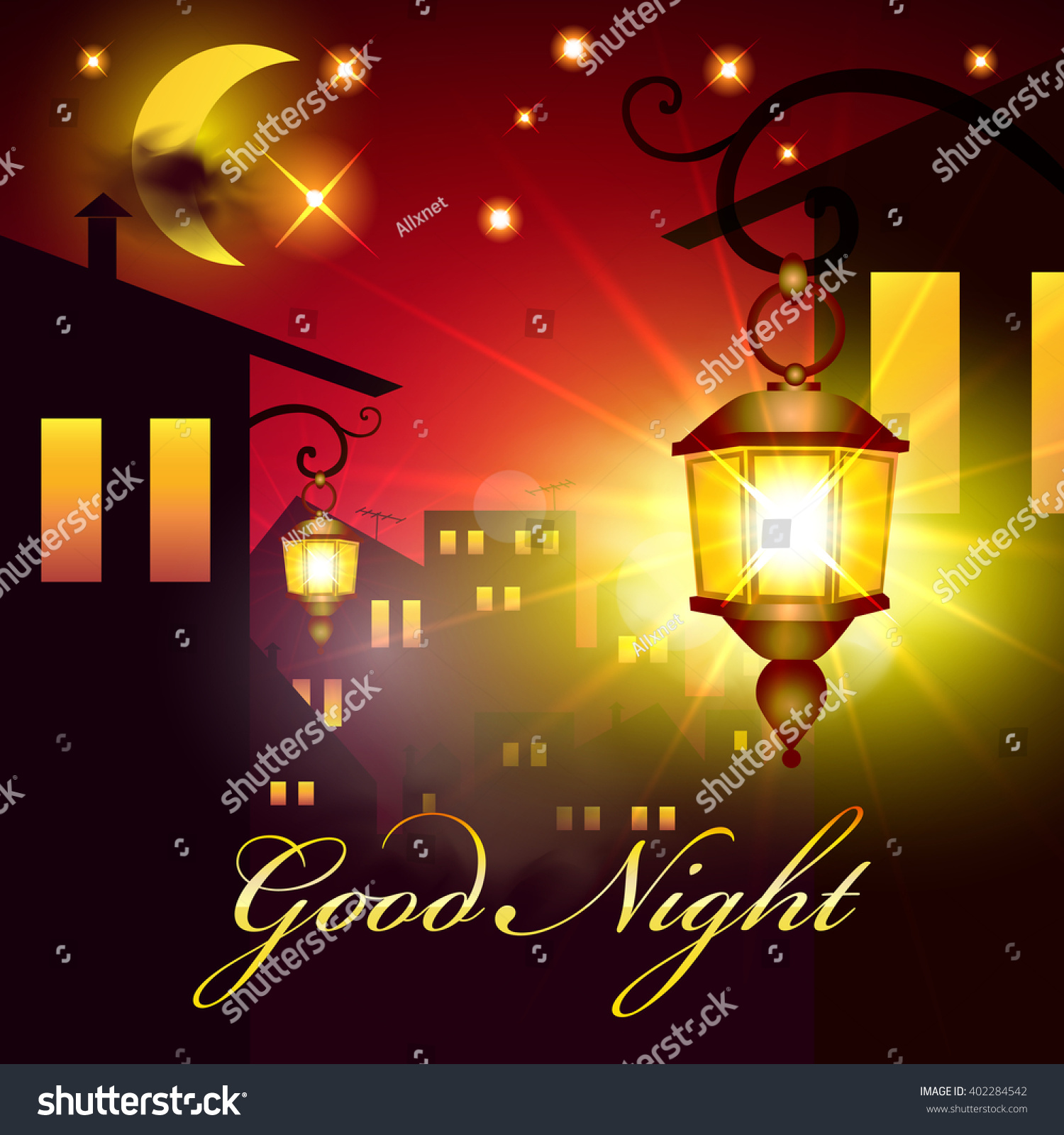 Night Town Background Moon Stars Sweet Stock Vector Royalty Free