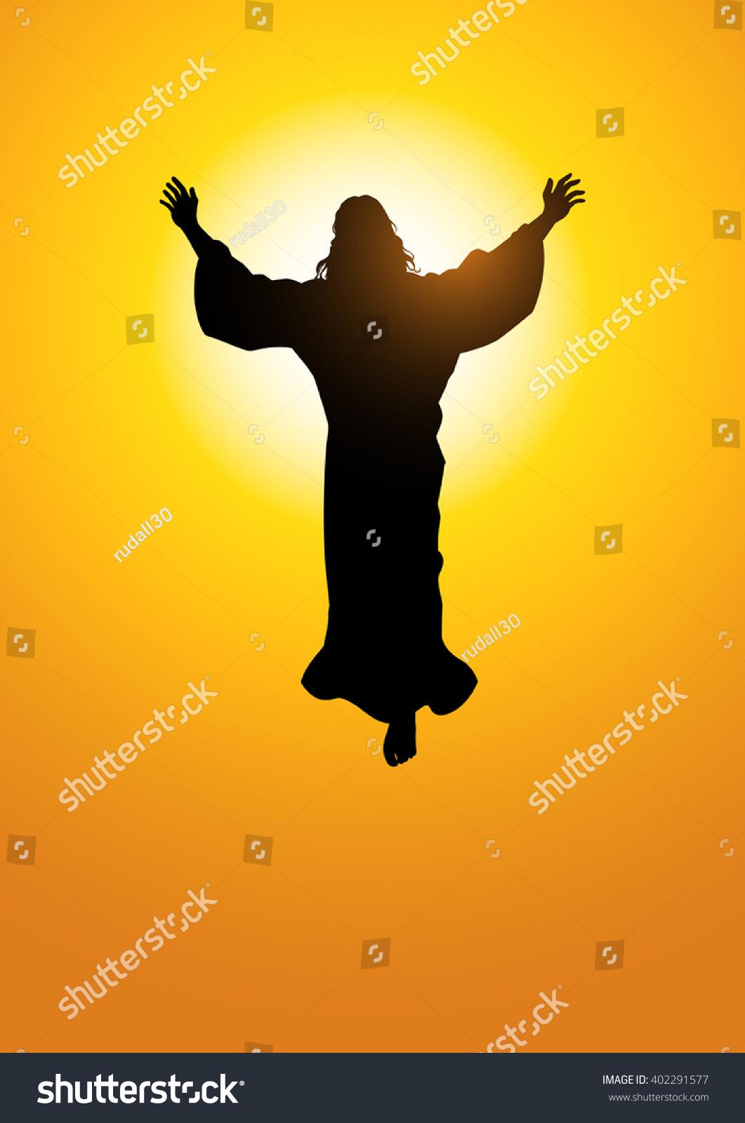 Silhouette Illustration Ascension Jesus Christ Stock ...