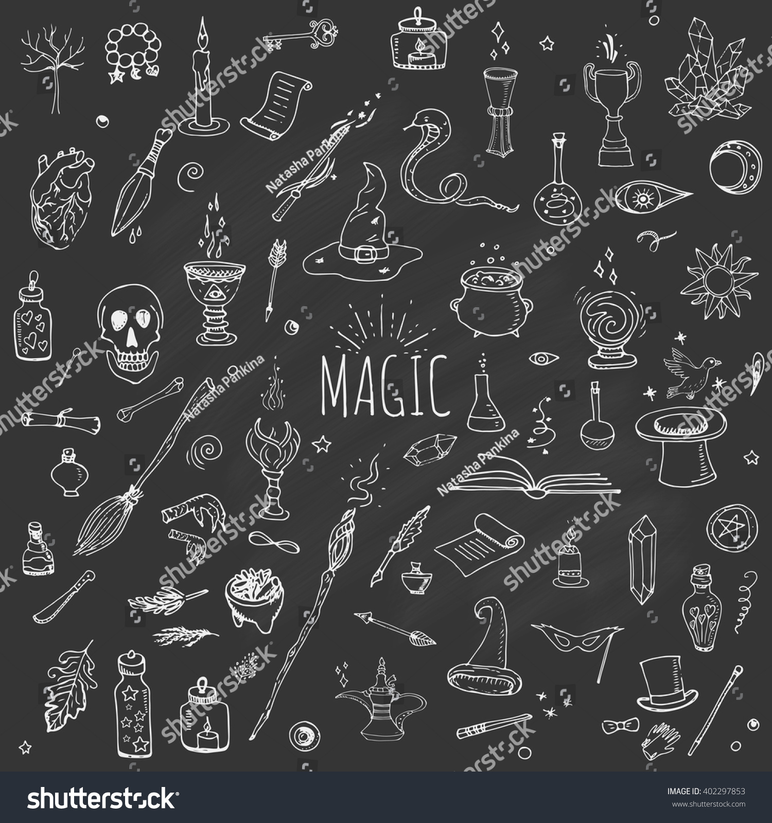 Hand drawn doodle magic set vector stock vector 402297853 vector illustration wizardry witchcraft symbols isolated icons collection cartoon buycottarizona
