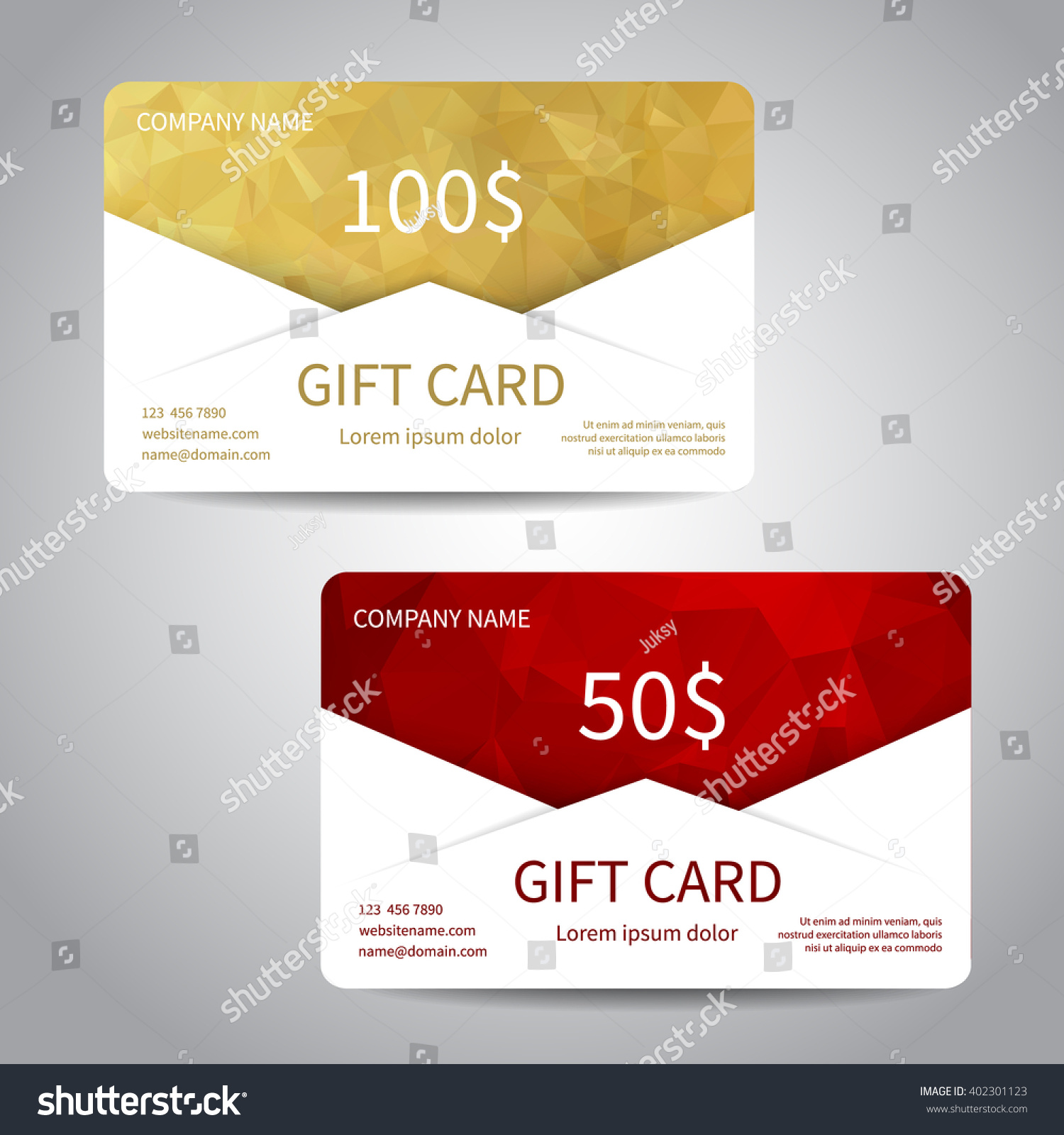 Set Gift Cards Discount Cards Templates Stock Photo (Photo, Vector ...