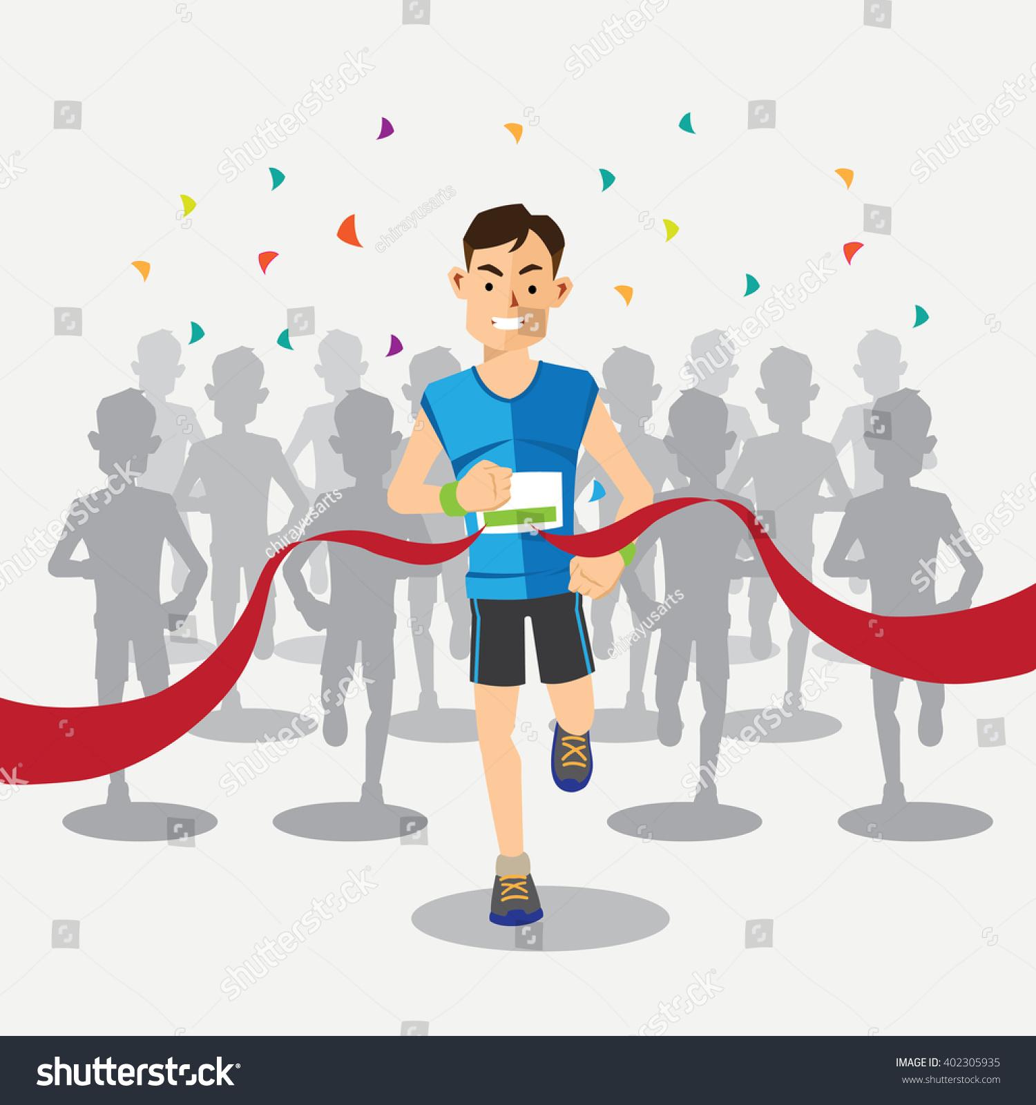 Marathon Runners Cross The Finish Line