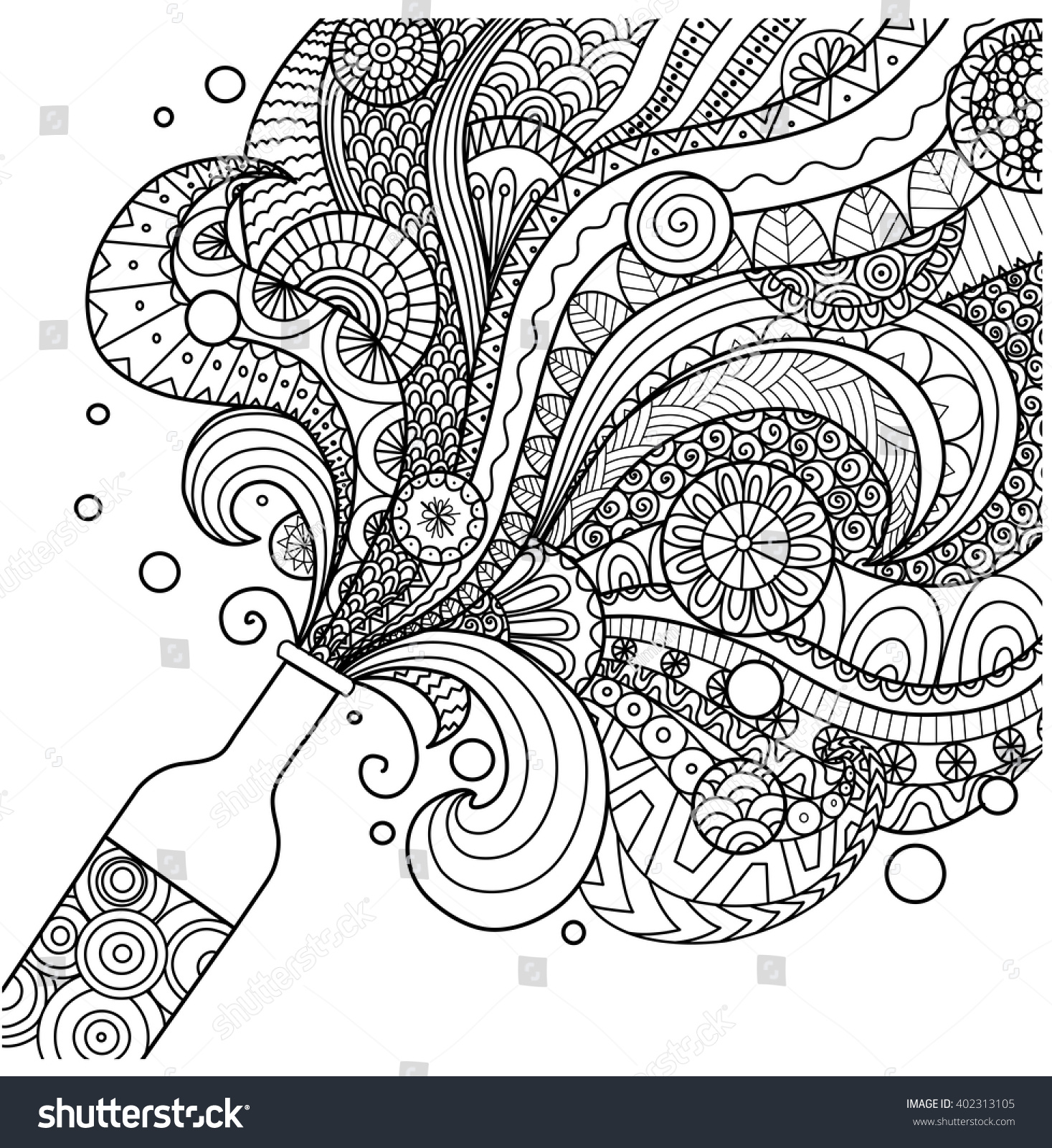 A Line Design : Champagne bottle line art design coloring stock vector