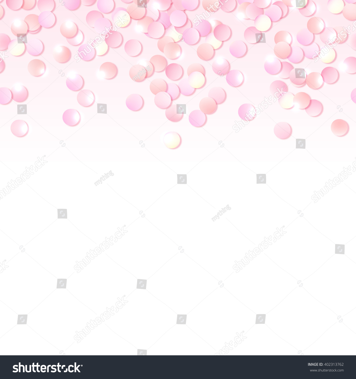 Seamless Border Pink Realistic Confetti Design Stock Vector ...