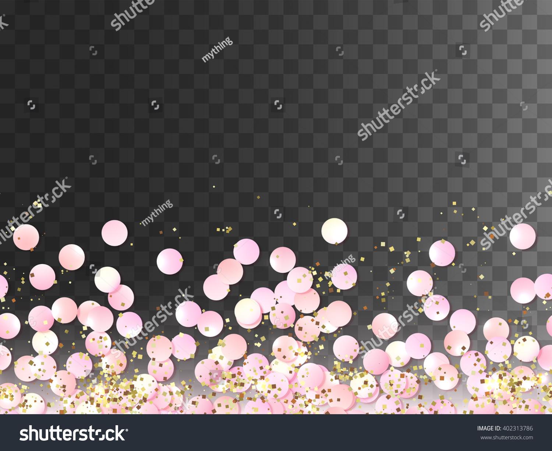 Seamless Border Pink Realistic Confetti Gold Stock Vector ...