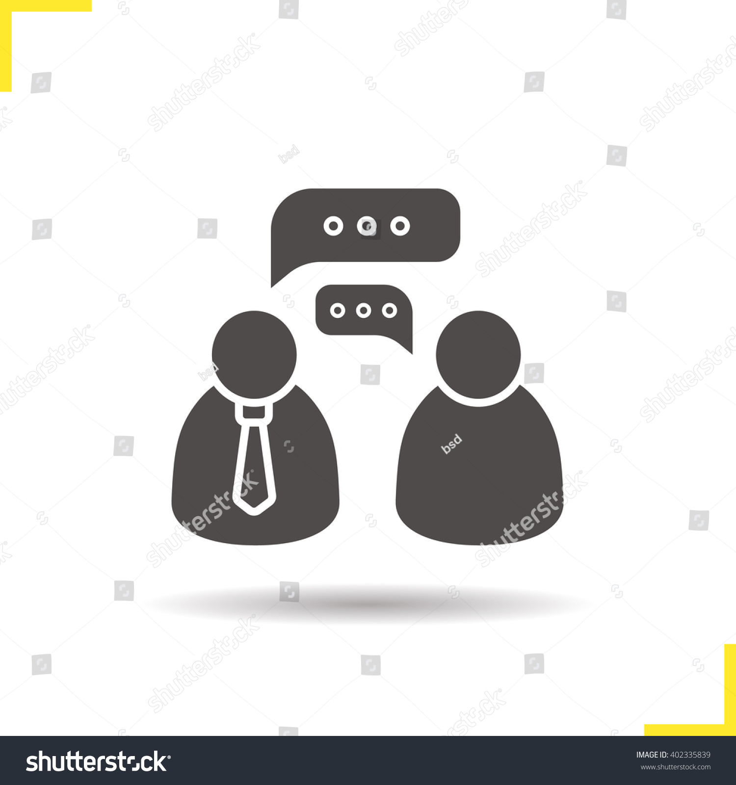 job interview icon drop shadow speakers stock vector  job interview icon drop shadow speakers silhouette symbol business talk two people speaking