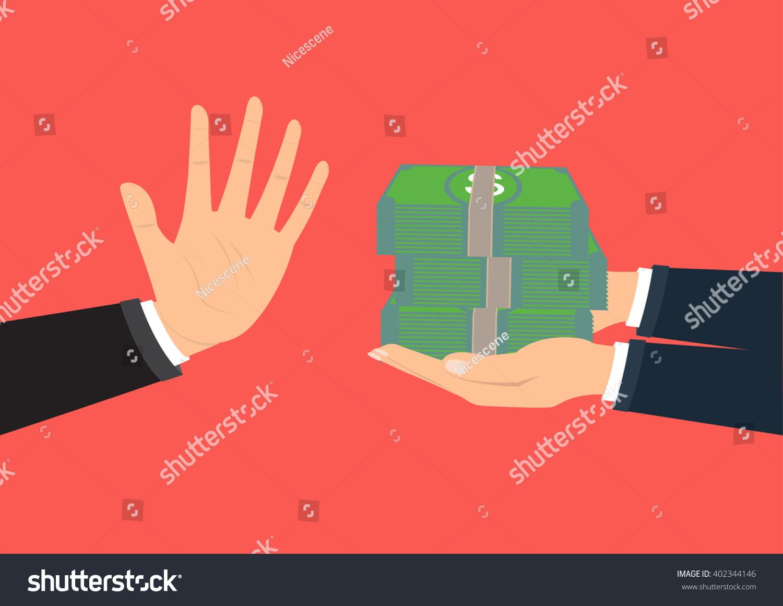 businessman hand refusing offered bribe company のベクター画像素材