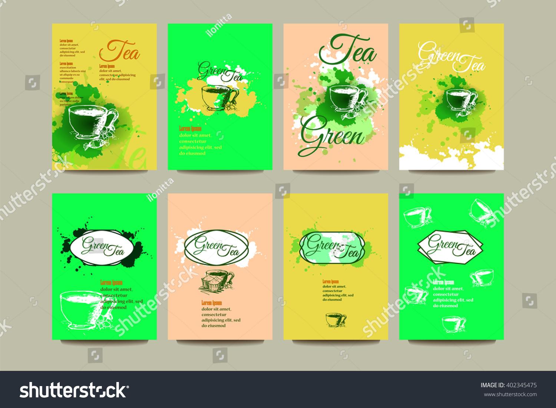 Business Card Flyer Brochure Green Tea Stock Vector 402345475 ...