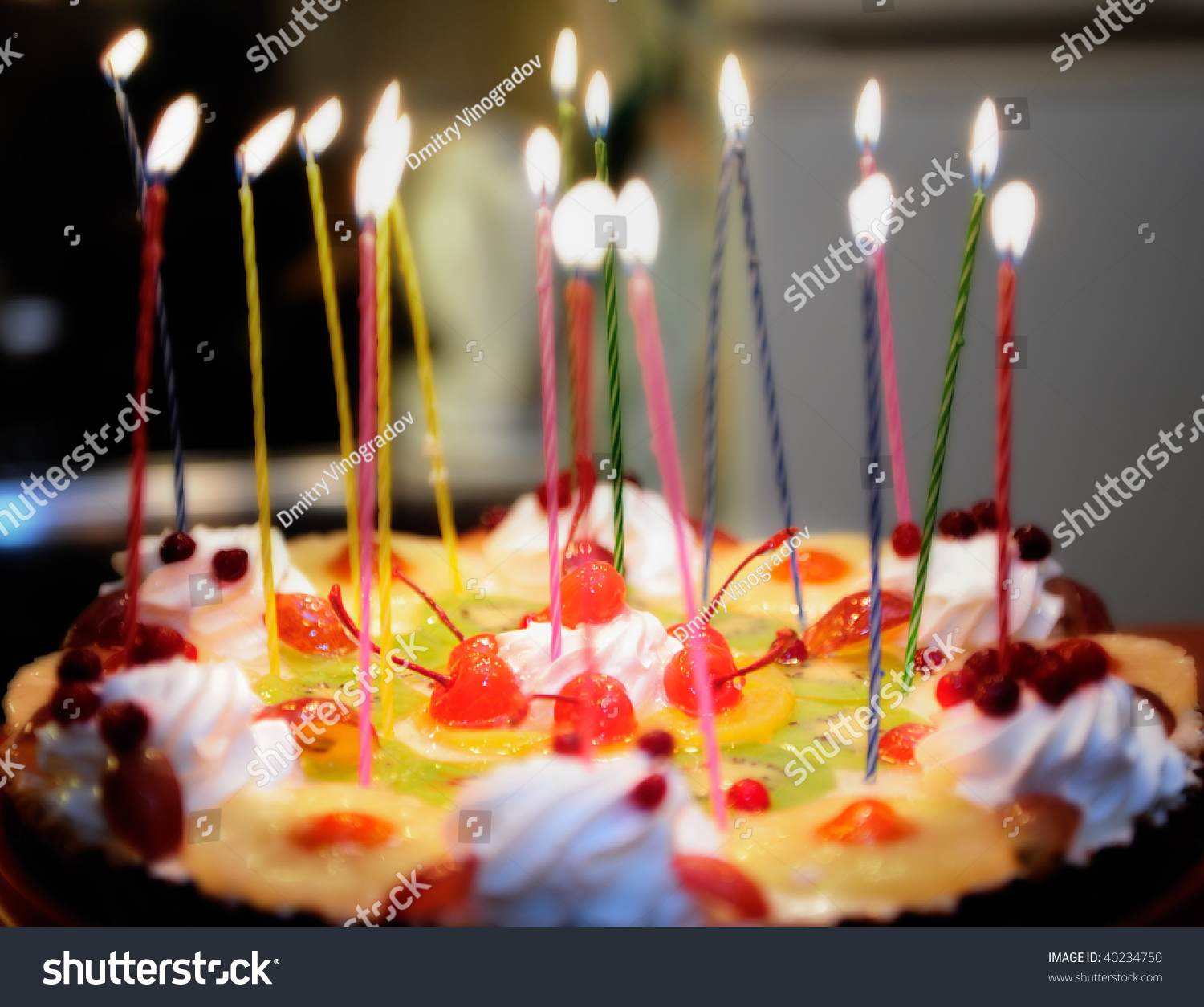 Birthday Cake Lighted Candles Stock Photo Image Royalty Free