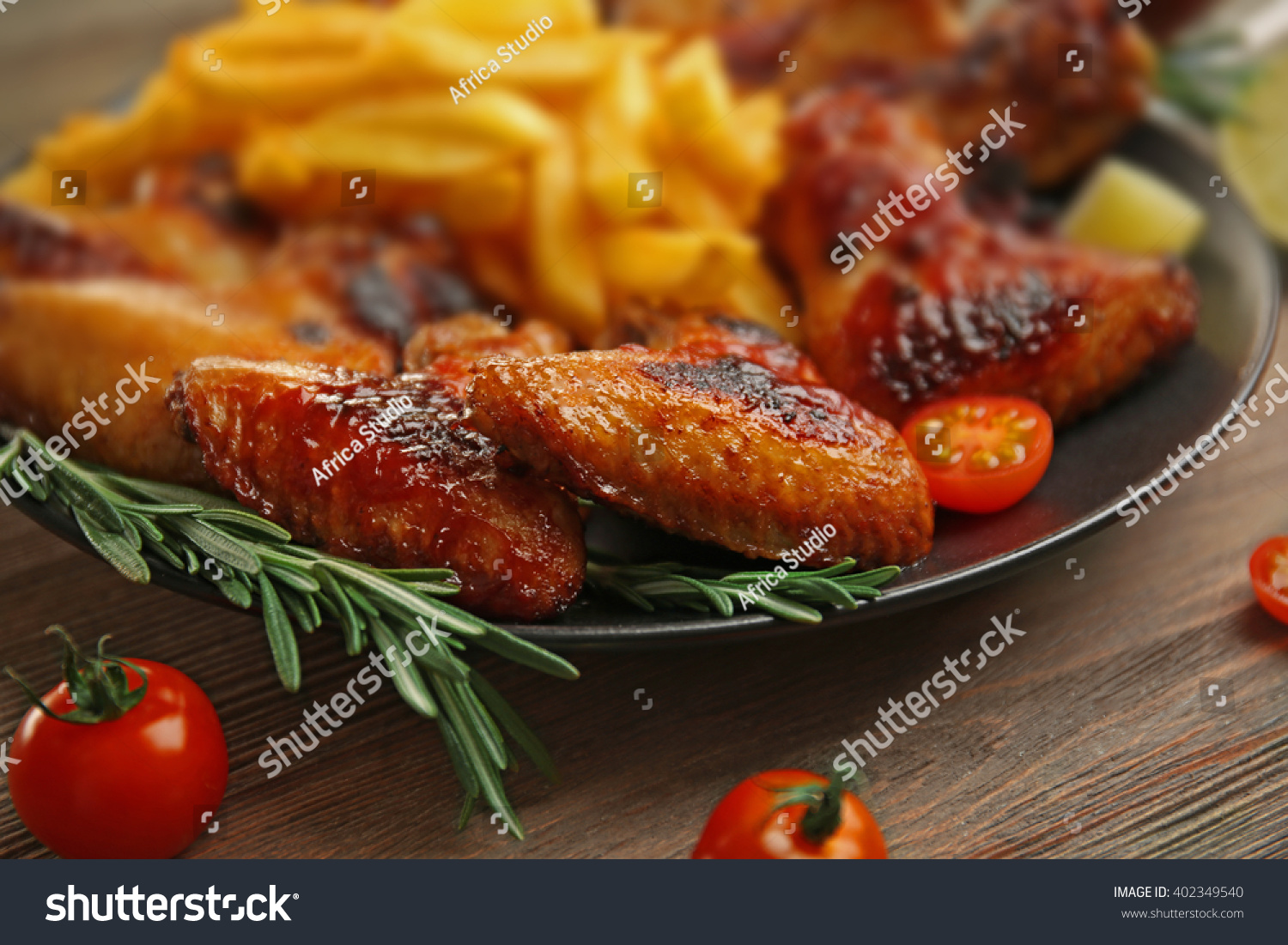 Grilled Chicken Wings French Fries Gardenstaff Stock Photo (Royalty ...