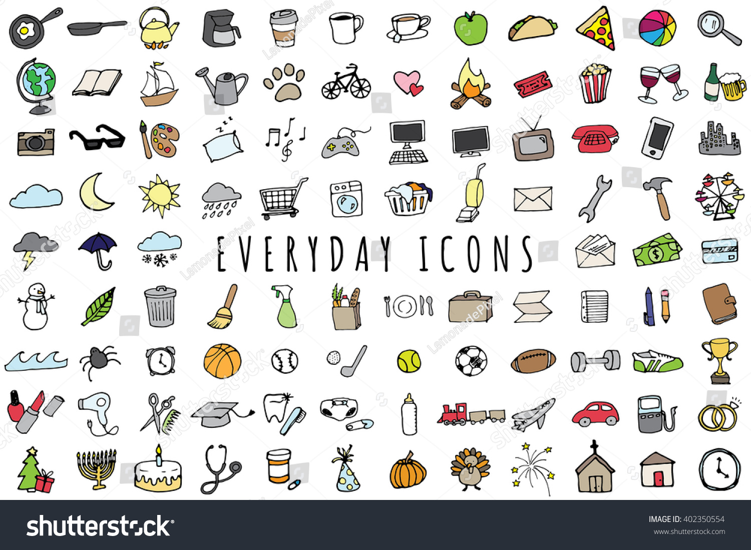 Everyday Objects Icons Set Sketched Planner And To Do