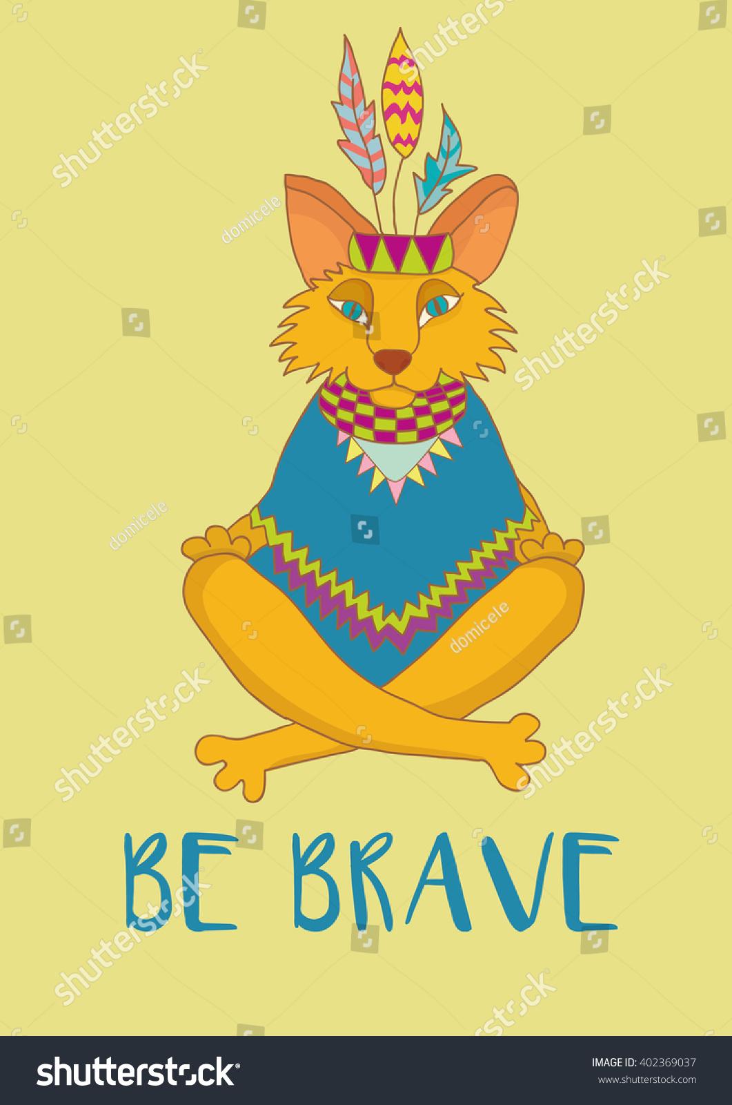 Be Brave Tribal Fox Print Nursery Stock Vector 402369037 - Shutterstock