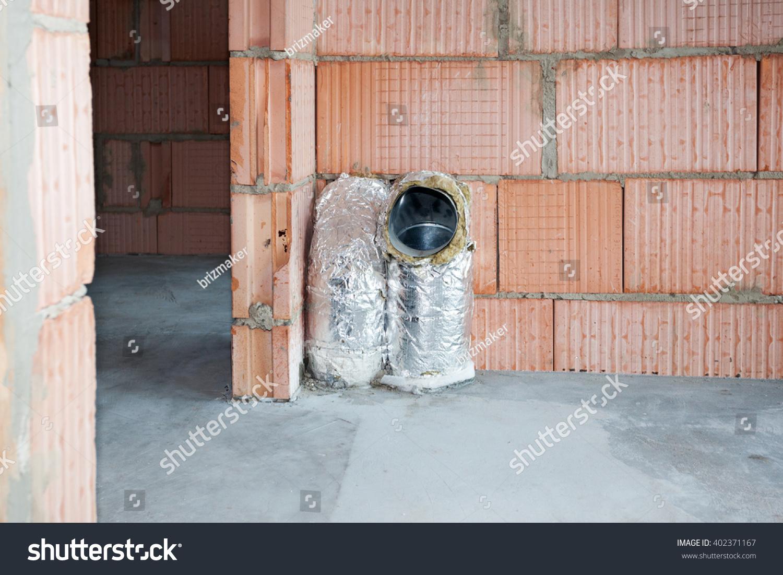 new house under construction closeup ventilation stock photo