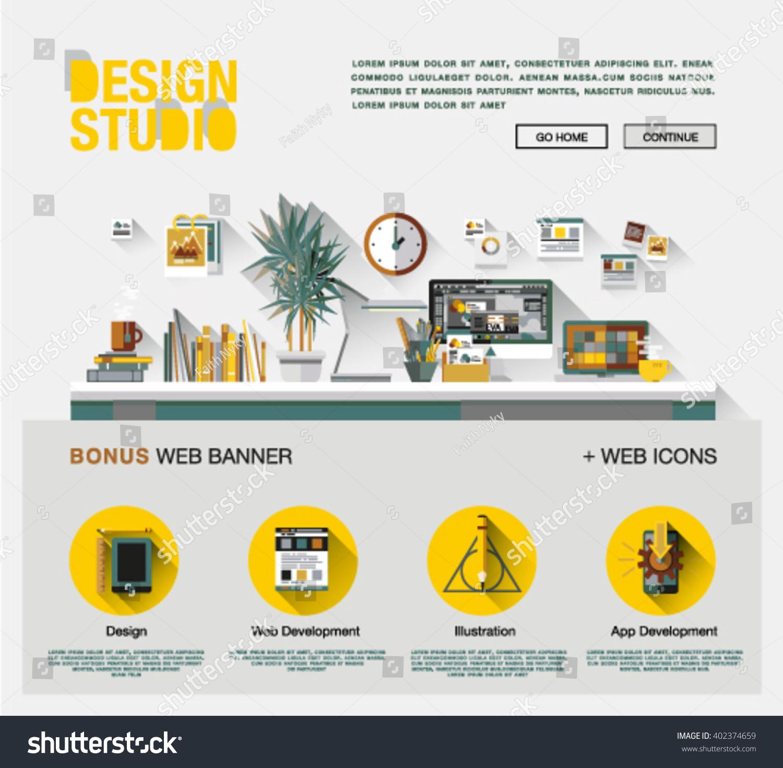 flat web design template one page のベクター画像素材 ロイヤリティ
