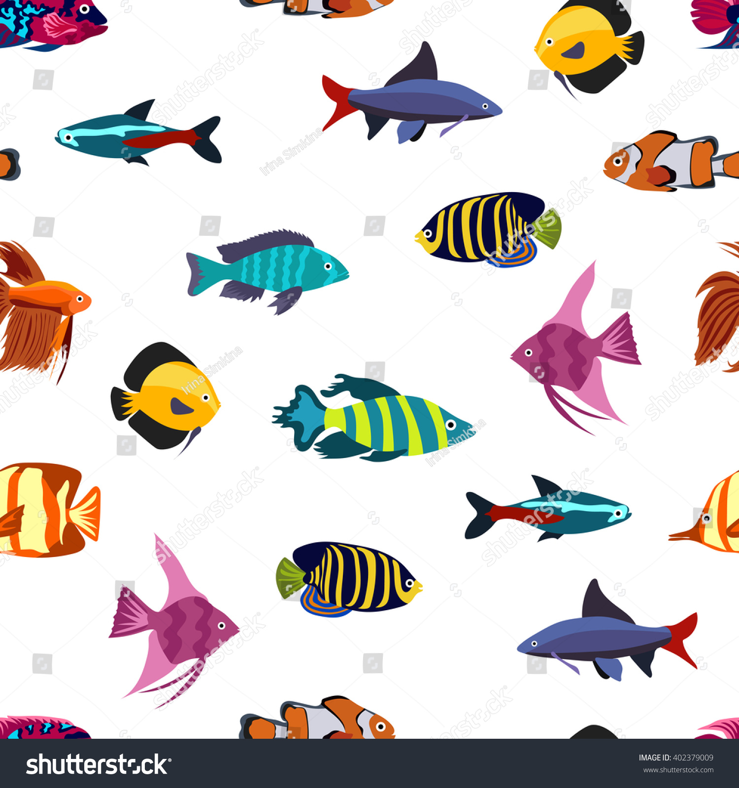 Tropical sea aquarium fish set isolated stock vector for Seamless fish tank