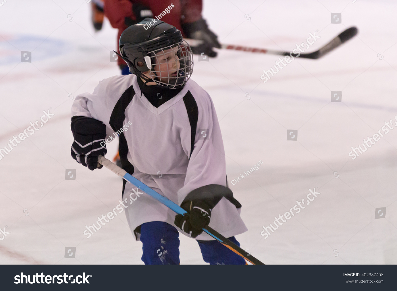 Kids Playing Minor Ice Hockey Game People Stock Image 402387406