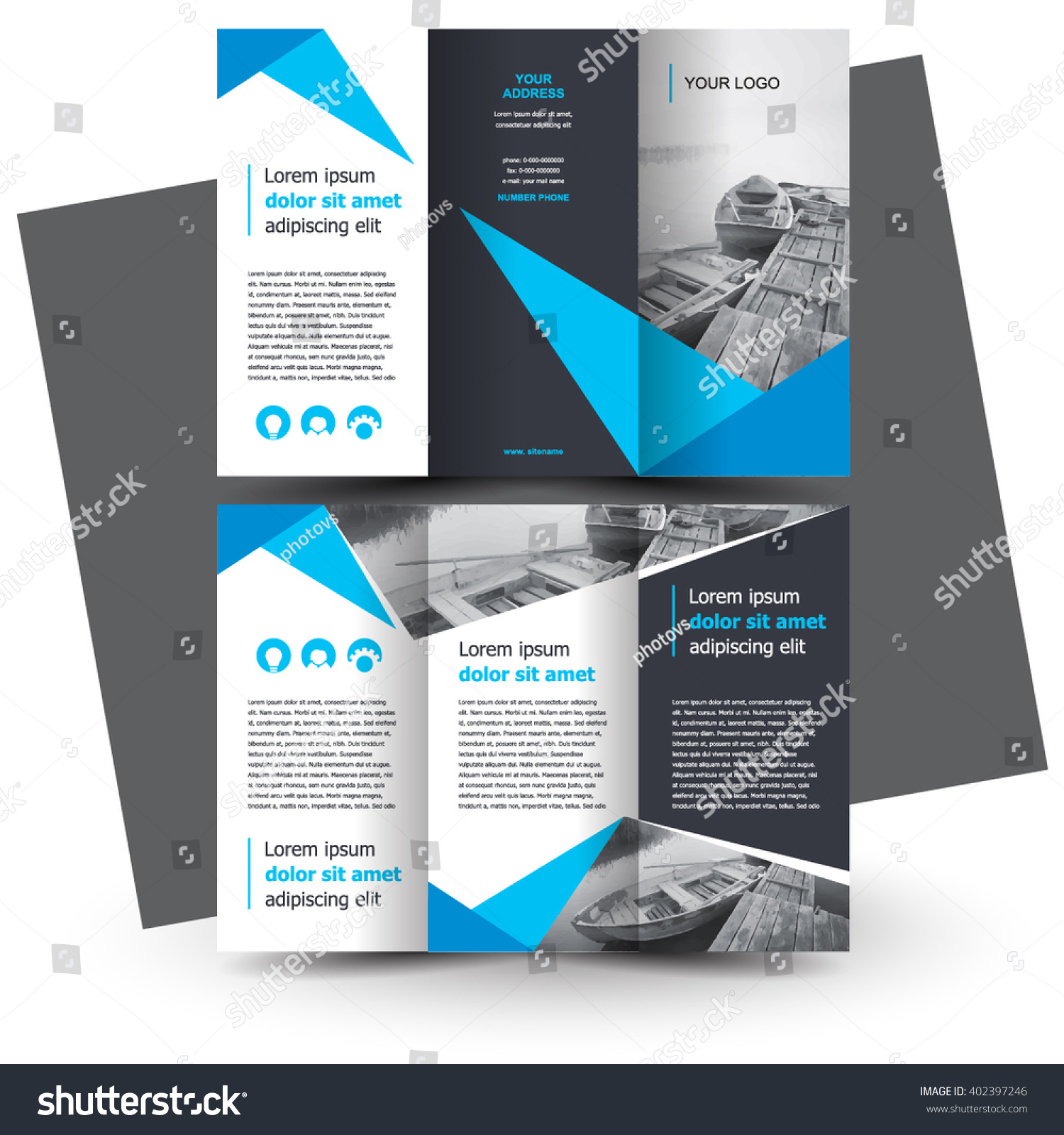 brochure design brochure template creative trifold stock vector