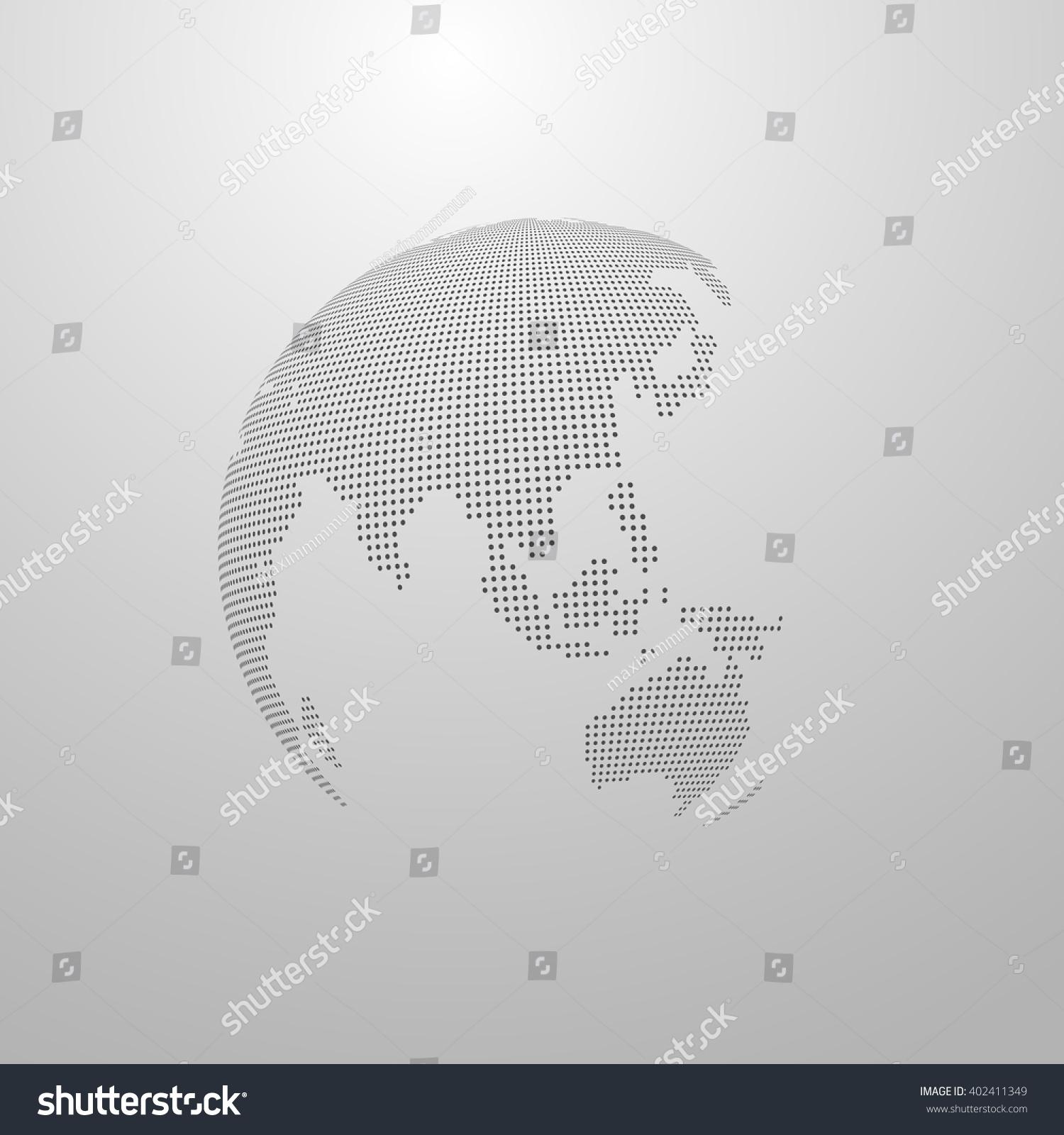 Vector illustration halftone world map globe stock vector 402411349 vector illustration of a halftone world map globe label design world global communication concept gumiabroncs Images