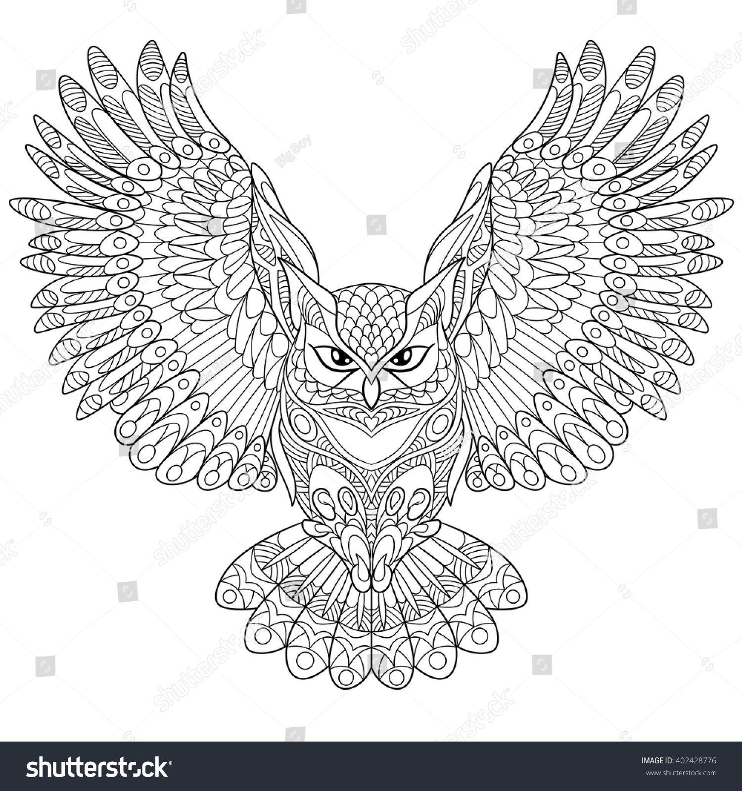 zentangle stylized cartoon eagle owl isolated stock vector
