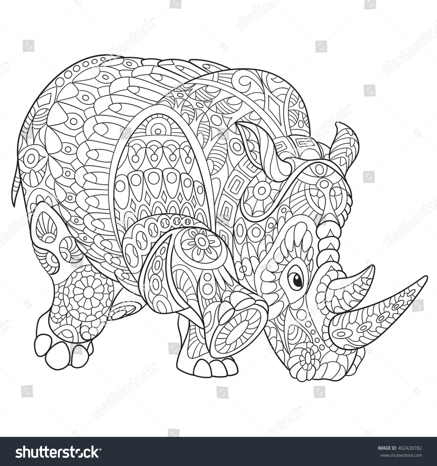 zentangle stylized cartoon rhino rhinoceros isolated stock vector