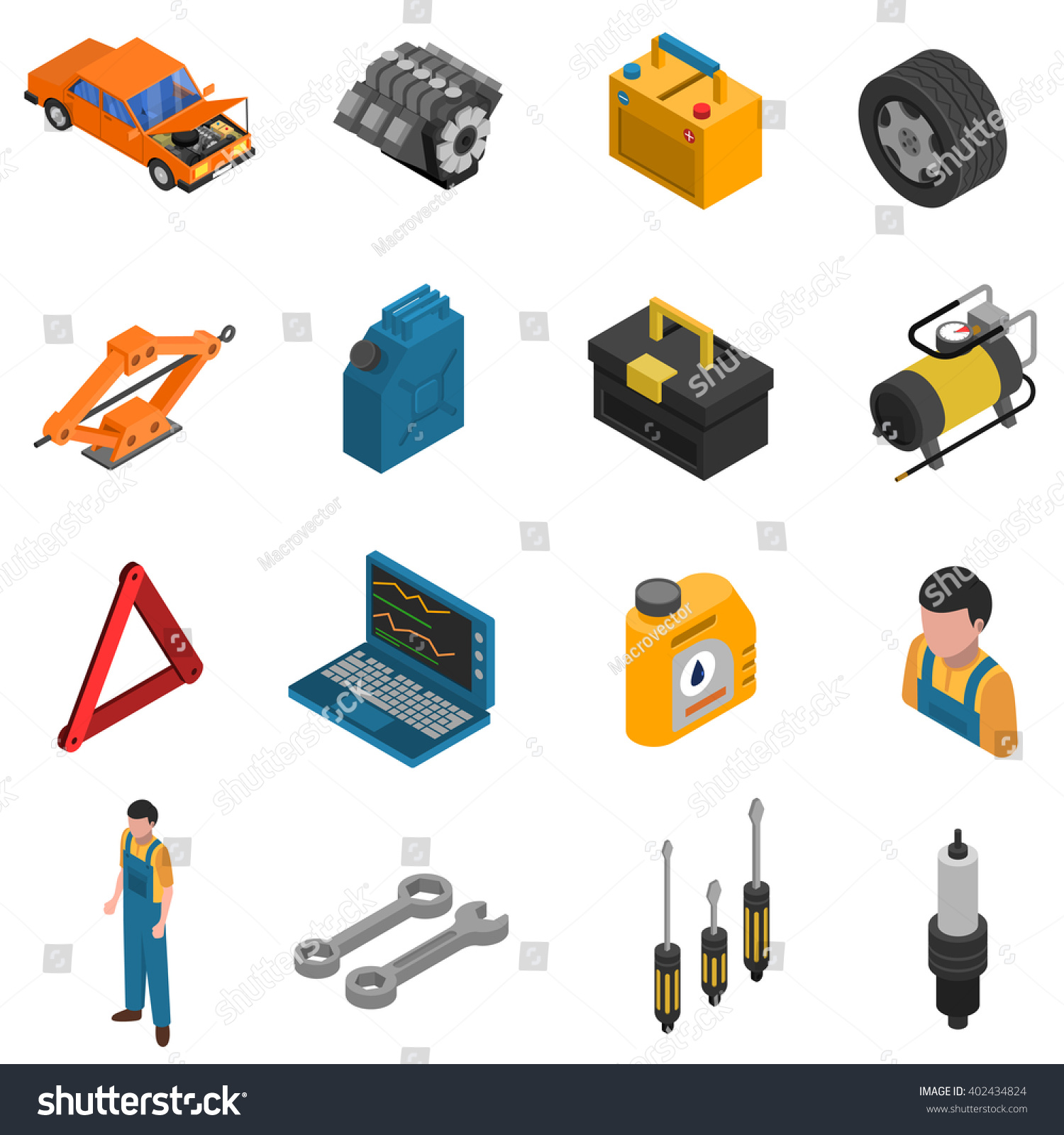 Tractor Parts Icon : Isometric isolated icon set colorful elements เวกเตอร์