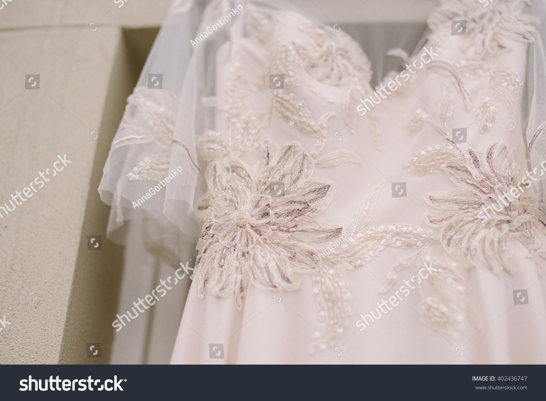 Closeup Beige Wedding Dress Lace Flower Stock Photo 402436747