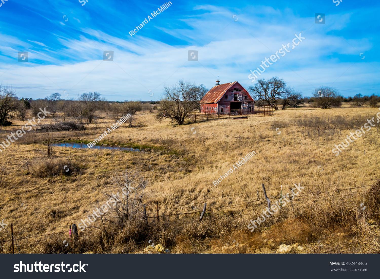Rural Oklahoma Farmland Abandoned Barn Farm Stock Photo