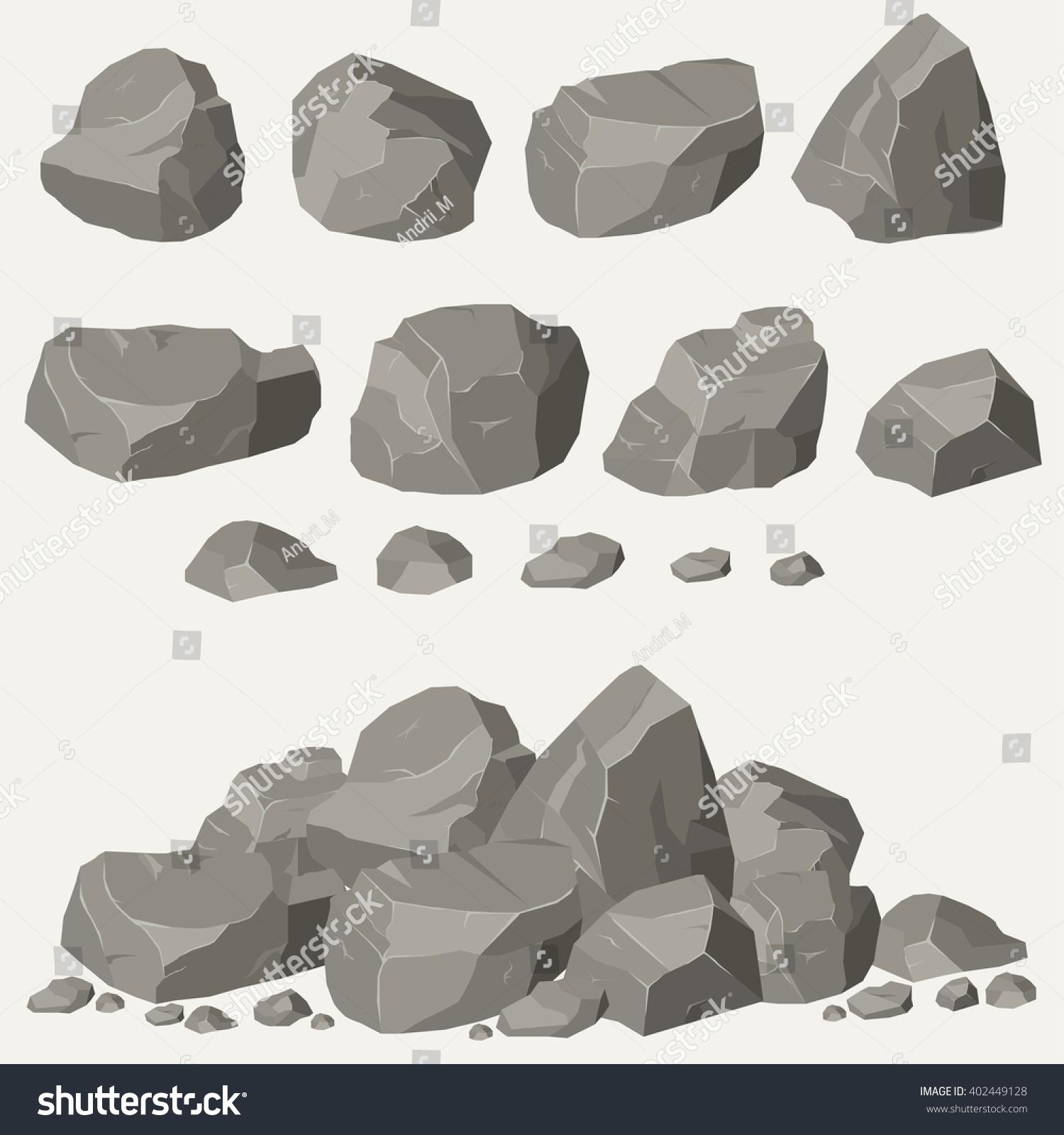 Stone Block Clip Art : Rock stone cartoon isometric d flat stock vector
