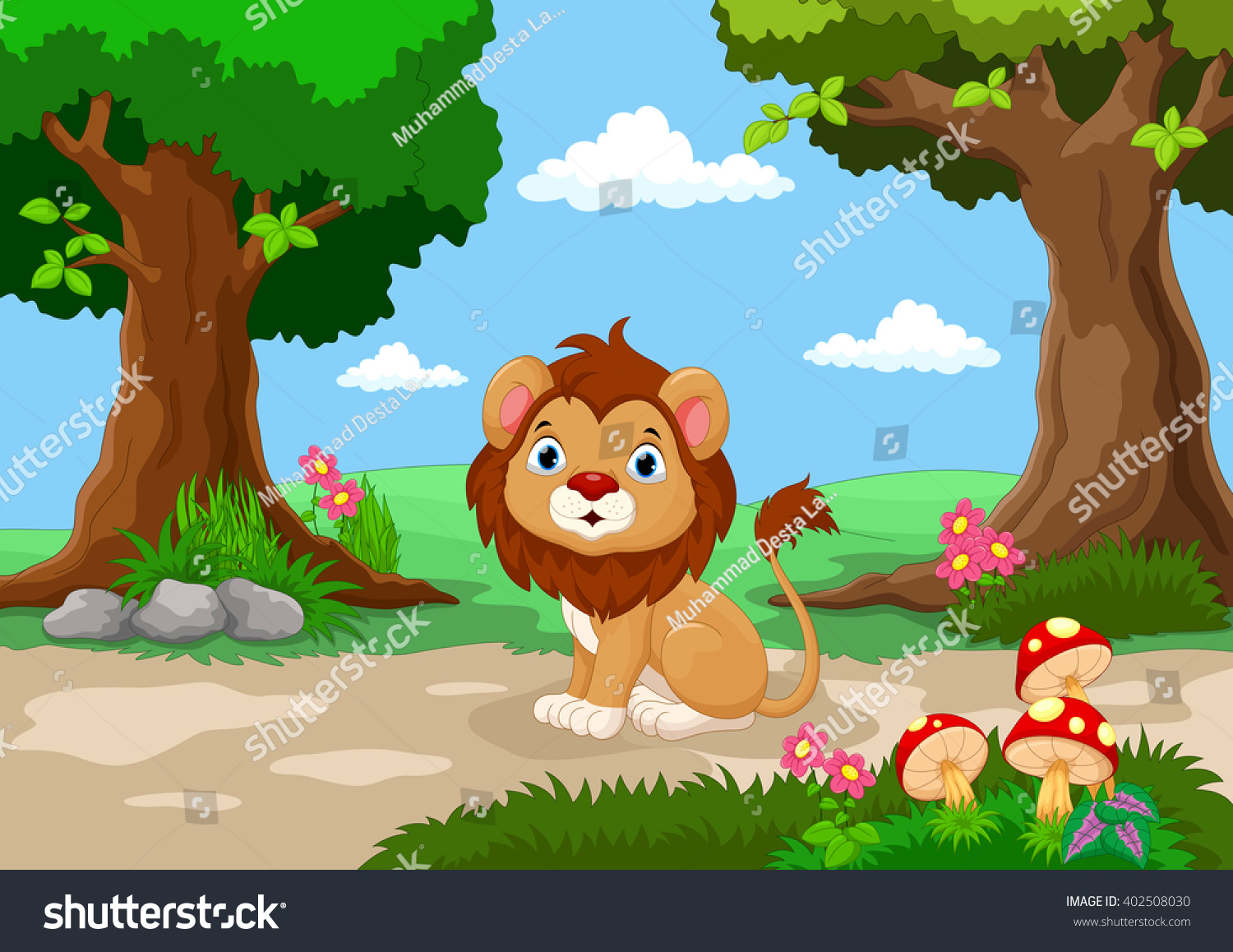 Beautiful garden cartoon - Funny Baby Lion Sitting With A Background Of A Beautiful Garden
