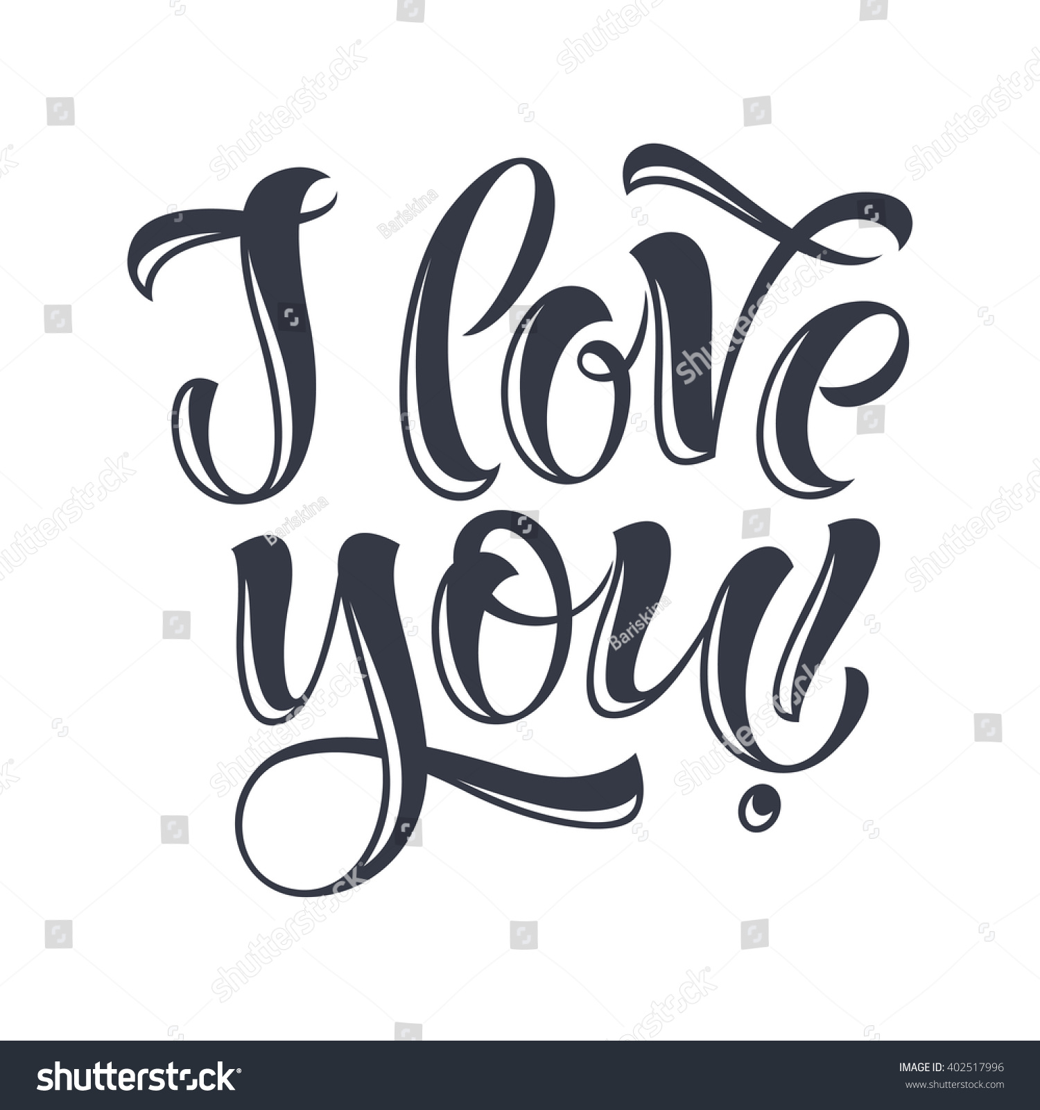 Love You Vector Text On White Stock Vector 402517996