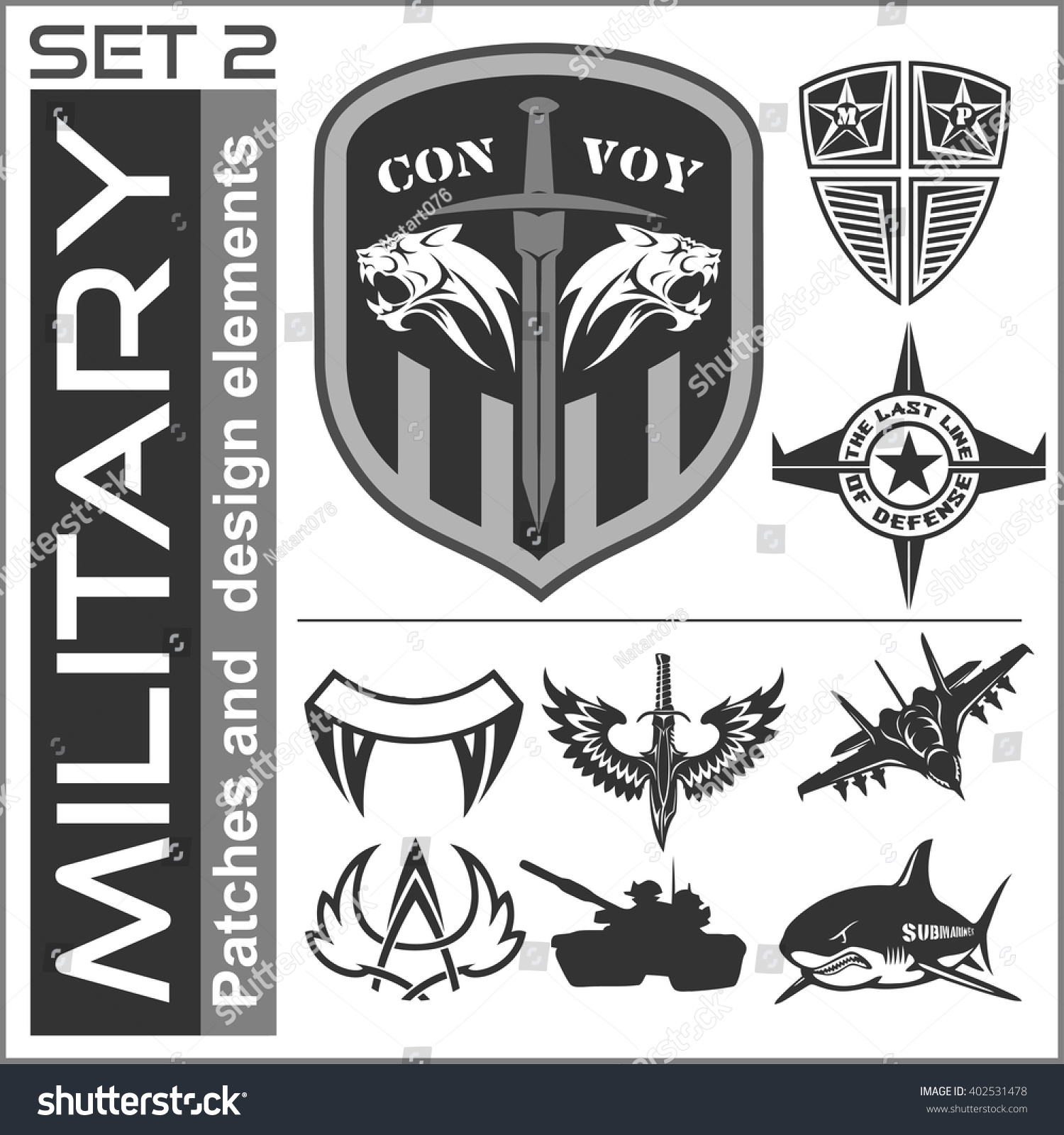 set military patches logos badges design stock vector royalty free