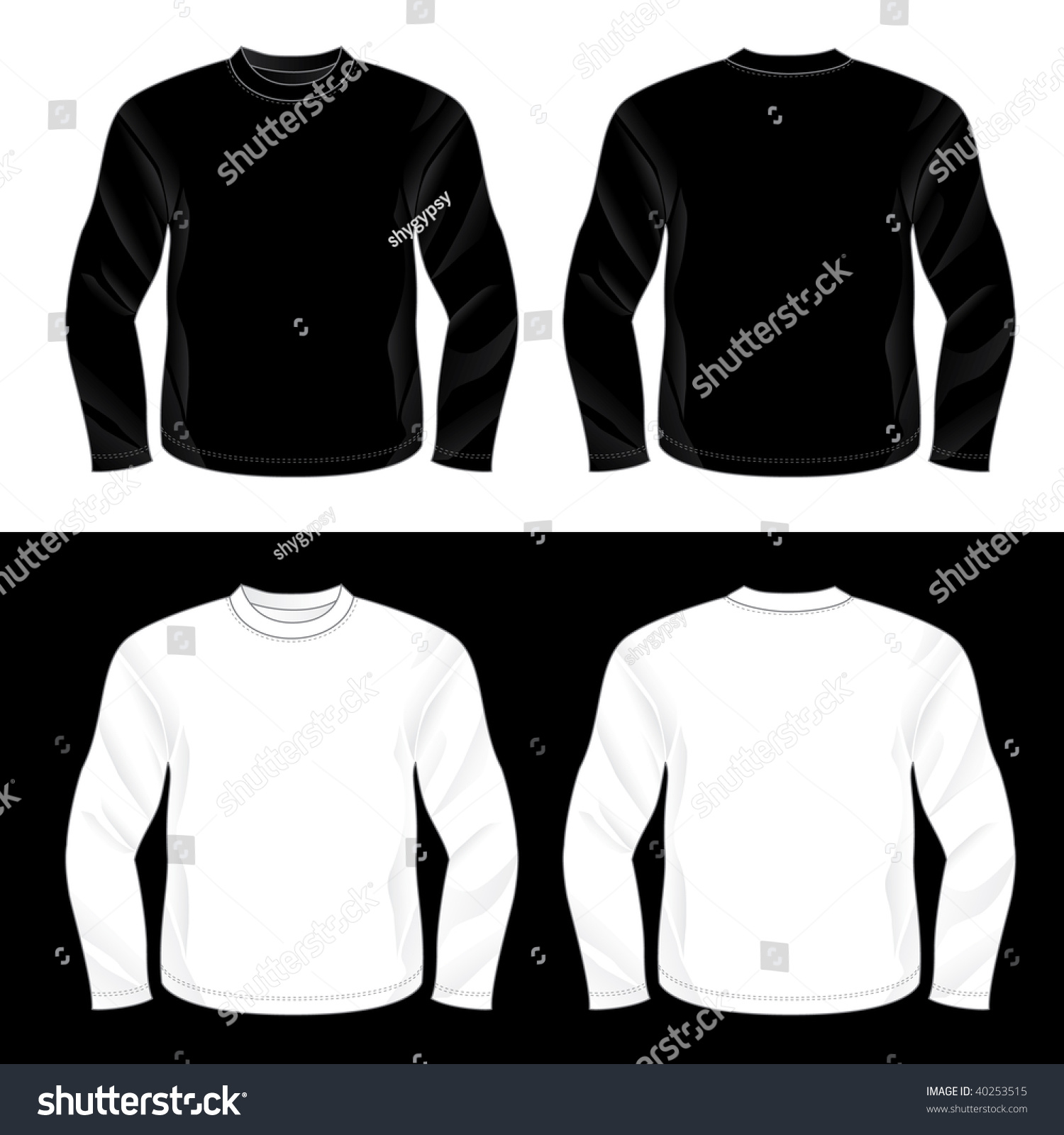 Blank black t shirt front and back - Black And White Realistic Blank Long Sleeve T Shirt Templates Front