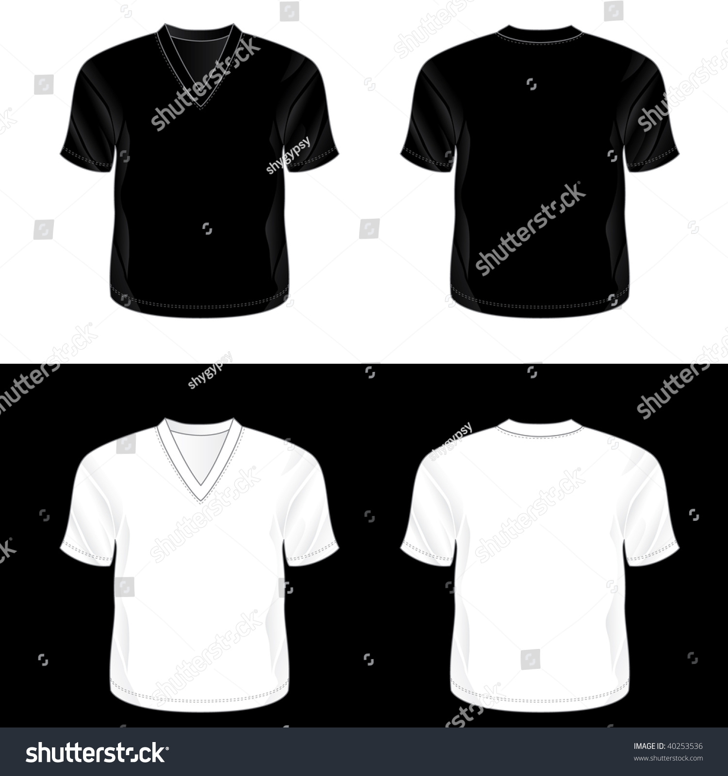 Blank black t shirt front and back - Black And White Realistic Blank V Neck T Shirt Templates