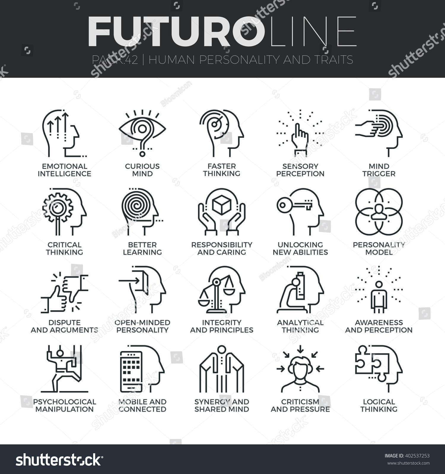 Modern thin line icons set of human personality thinking for Modern personalities