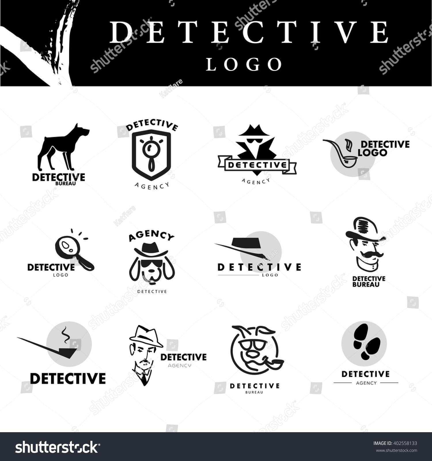 Flat Detective Agency Logo Design Hand Stock Illustration ...